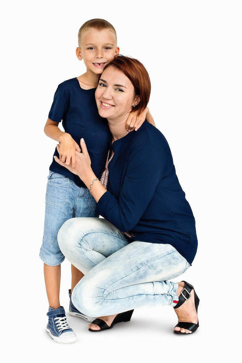 Mother Son Hugging Love Together Concept
