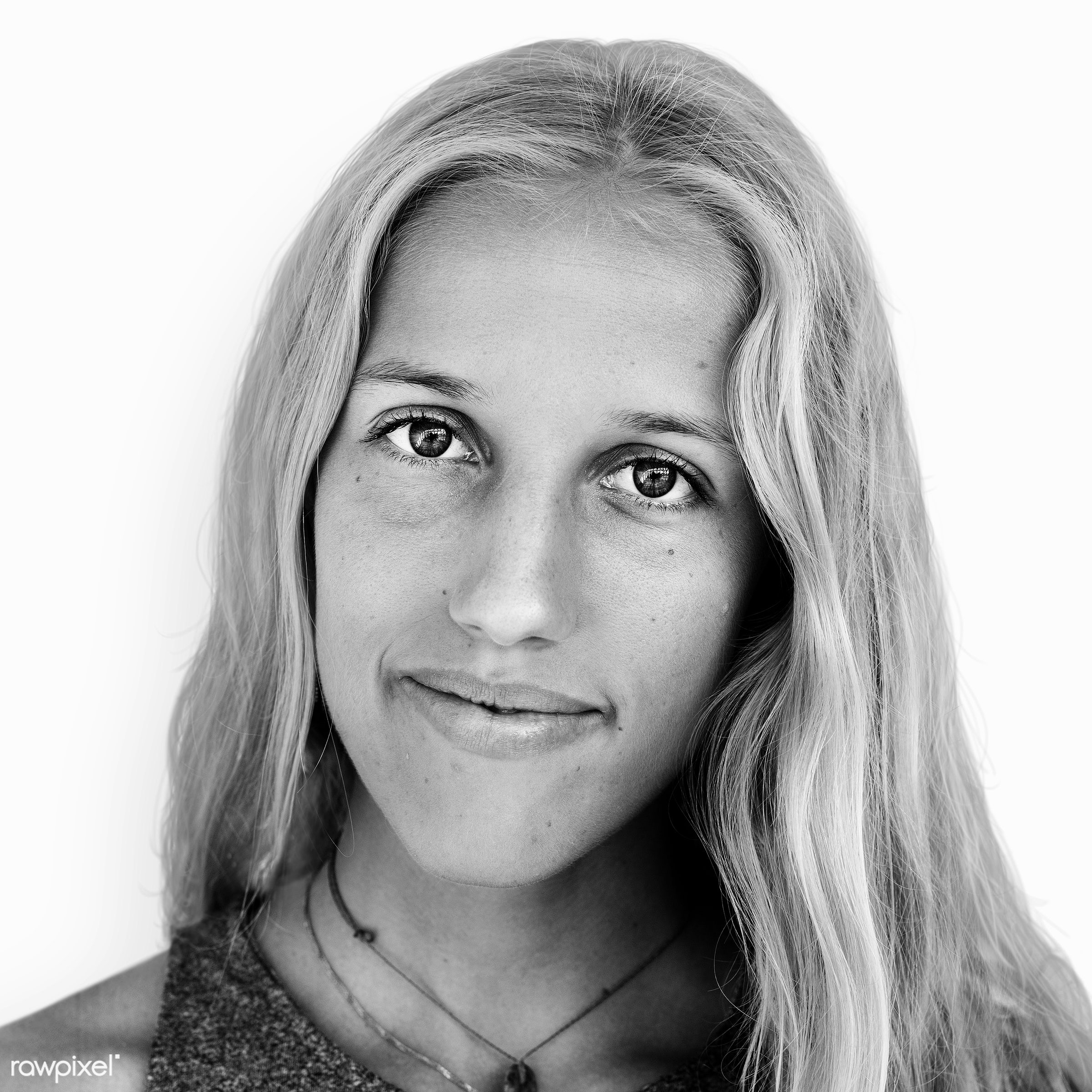 Portrait of a Spanish woman - face, alone, black and white, blond, casual, caucasian, emotion, expression, feeling,...