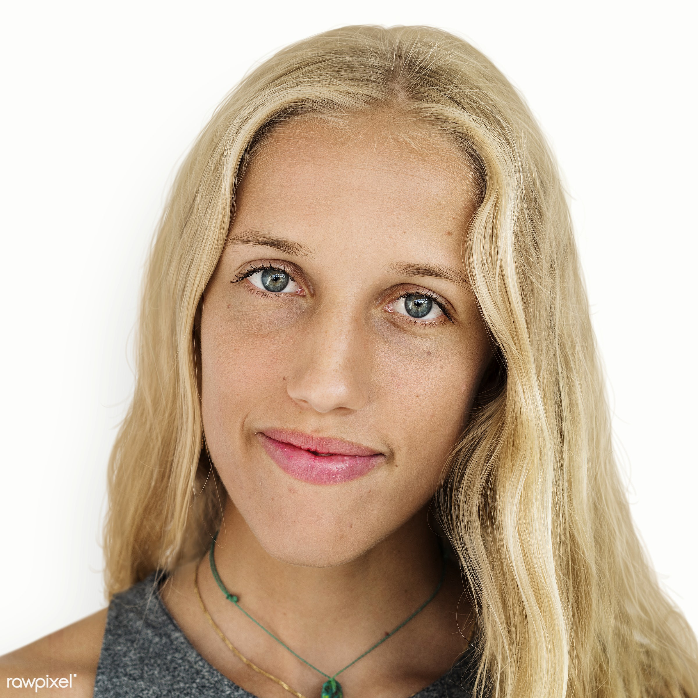 Portrait of a Spanish woman - alone, blond, casual, emotion, expression, face, feeling, isolated, isolated on white, lady,...