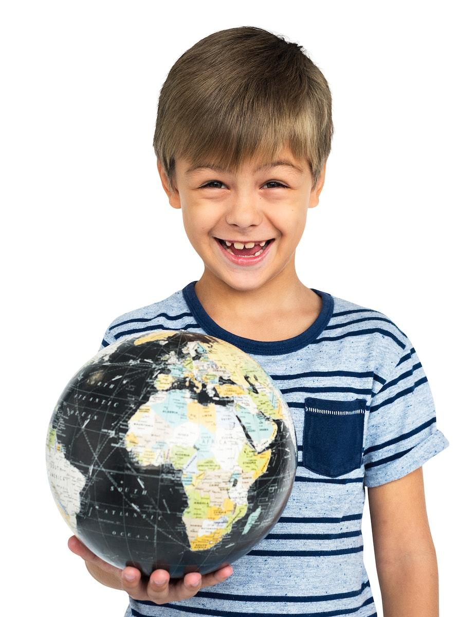 Child Smiling Globe Concept