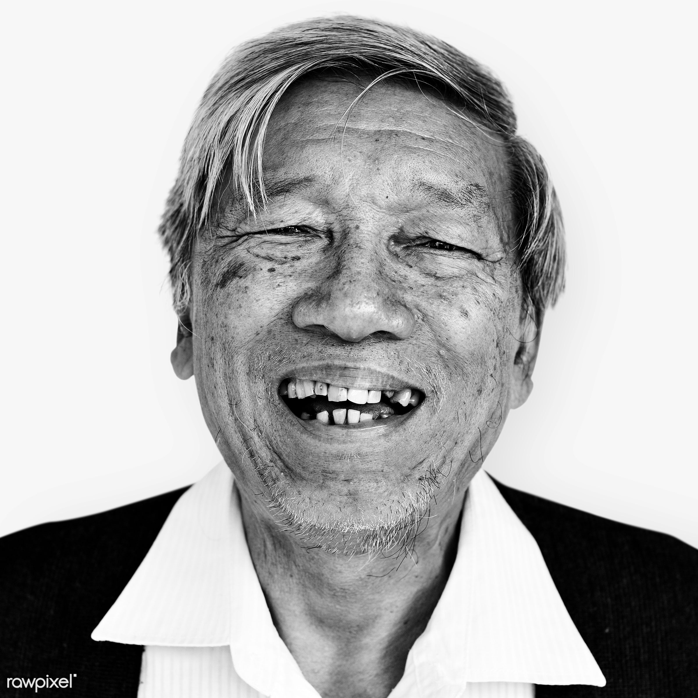 Portrait of a Thai elderly man - happy, asian, black and white, cheerful, closeup, elderly, emotion, expression, face,...