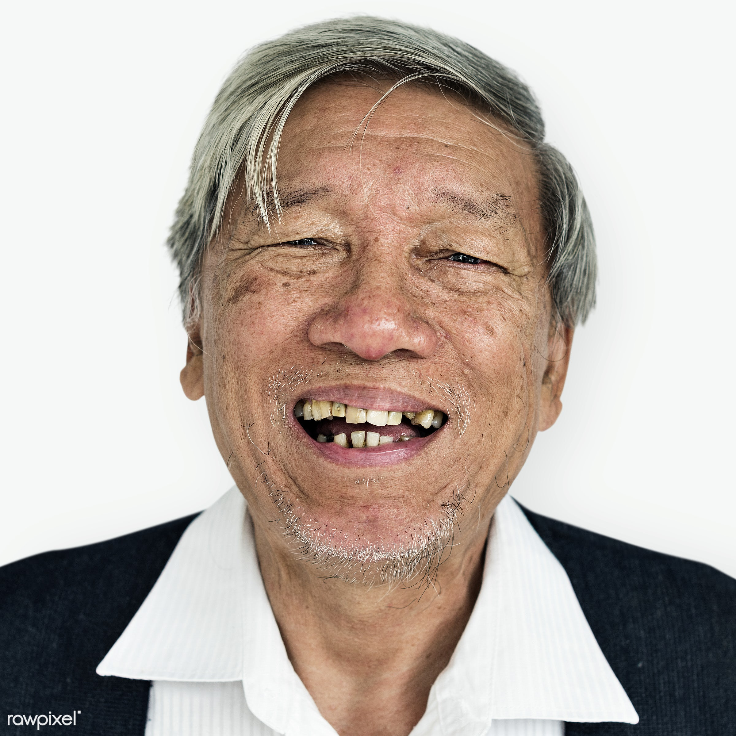Portrait of a Thai elderly man - asian, cheerful, closeup, elderly, emotion, expression, face, friendly, guy, happy, laugh,...