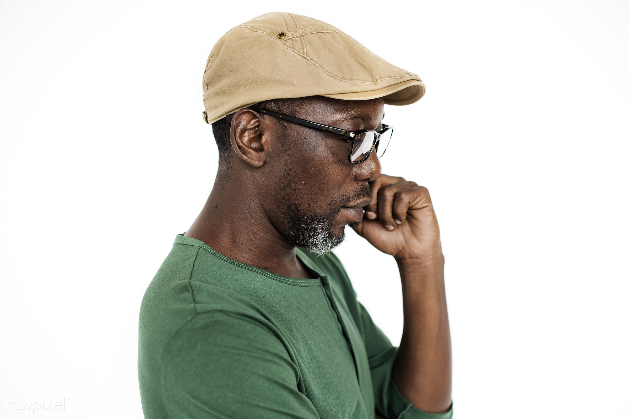 expression, calm, studio, face, golf cap, person, african, cap, isolated on white, photography, casual, cheerful, smiling,...