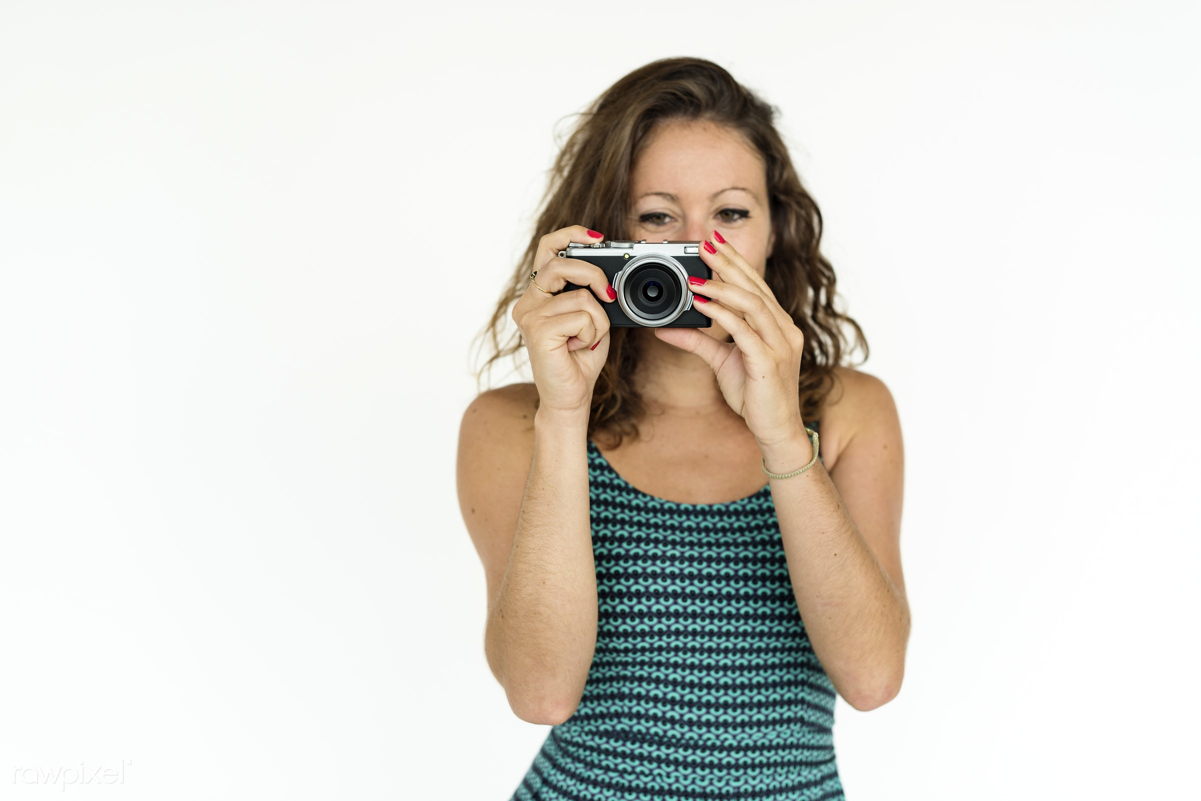 studio, expression, person, holding, people, caucasian, woman, lifestyle, cheerful, smiling, isolated, white, hobby,...