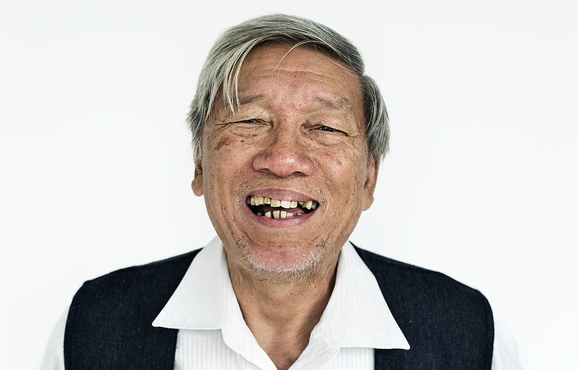 Worldface-Thai senior adult in a white background
