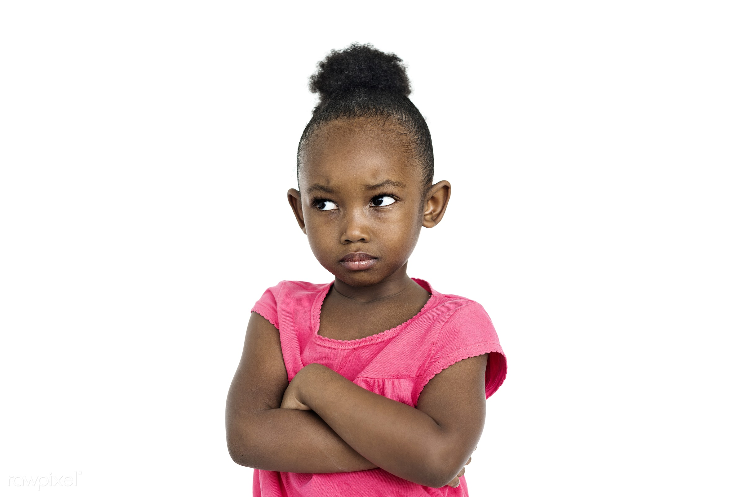 expression, studio, face, person, african, isolated on white, daughter, angry, children, kid, child, girl, upset, casual,...
