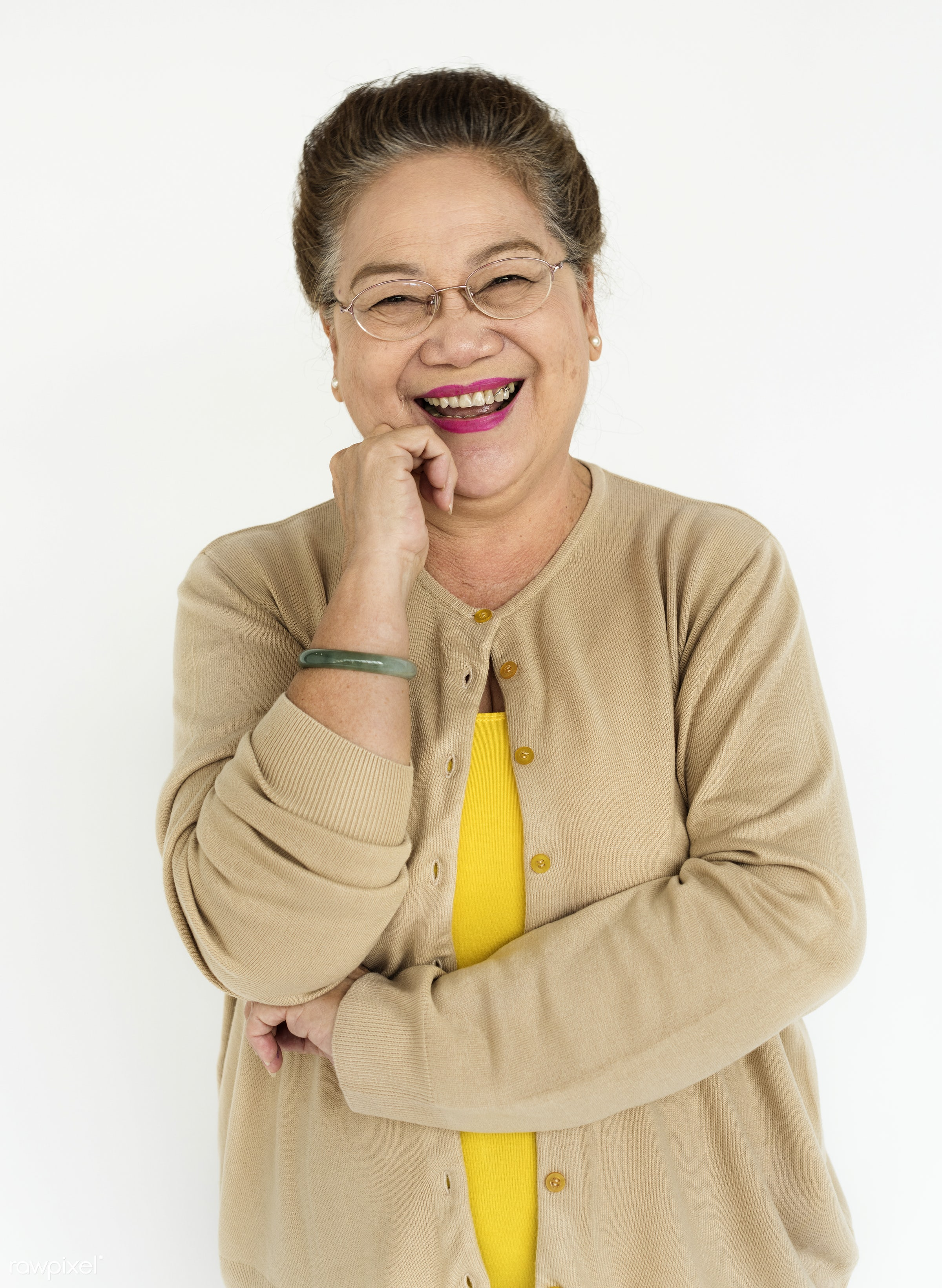 expression, studio, face, old, person, isolated on white, carefree, beauty, asian, retirement, woman, casual, cheerful,...