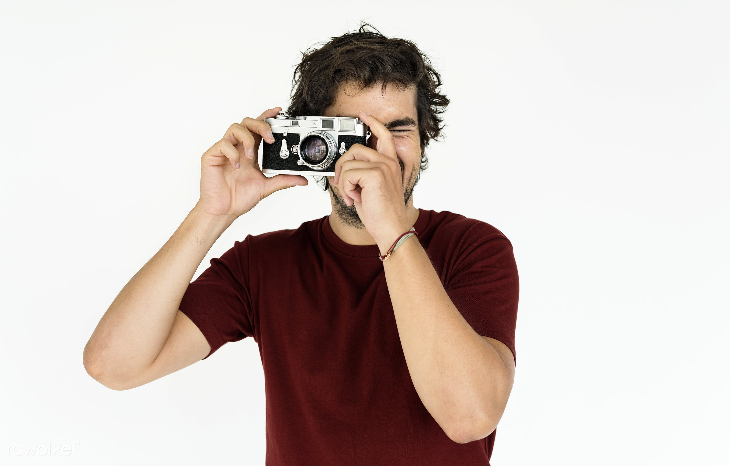studio, expression, person, isolated on white, snap, recreation, photography, t-shirt, casual, photographer, taking photo,...
