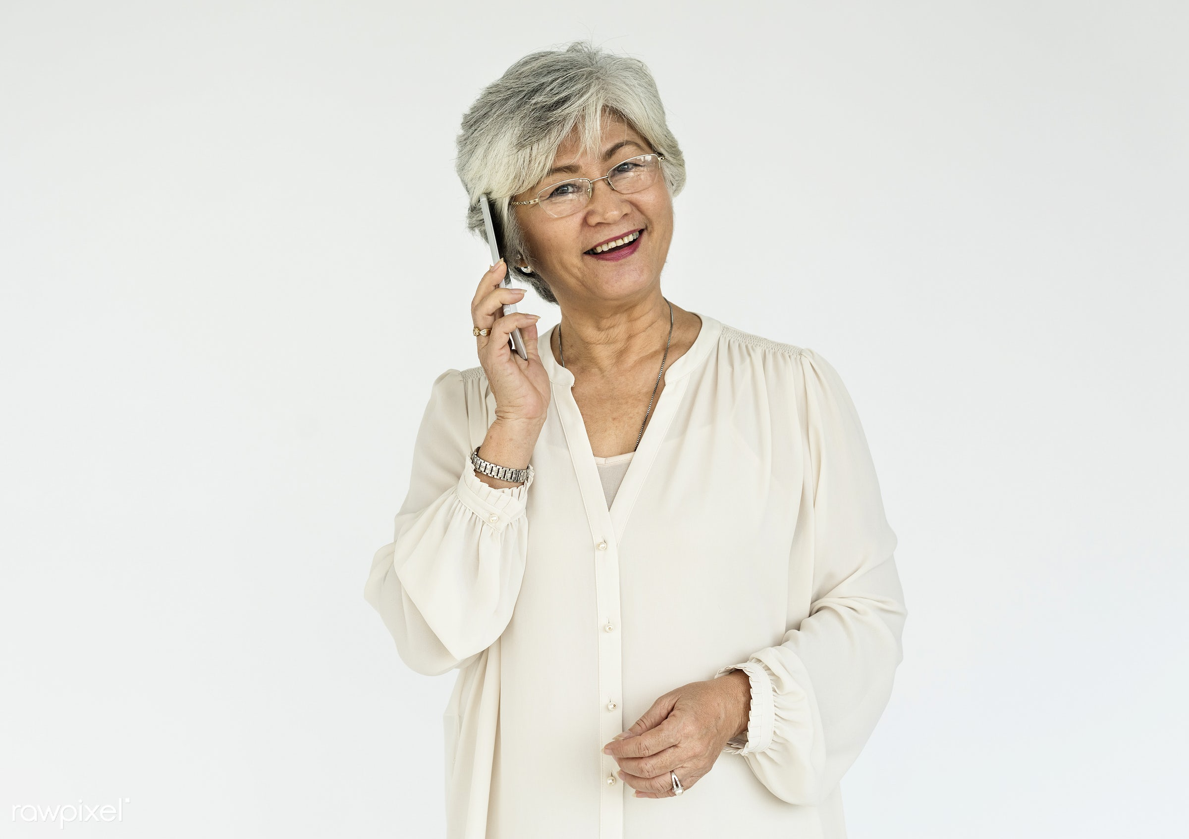 expression, studio, face, old, person, phone, isolated on white, beauty, carefree, asian, retirement, woman, casual,...