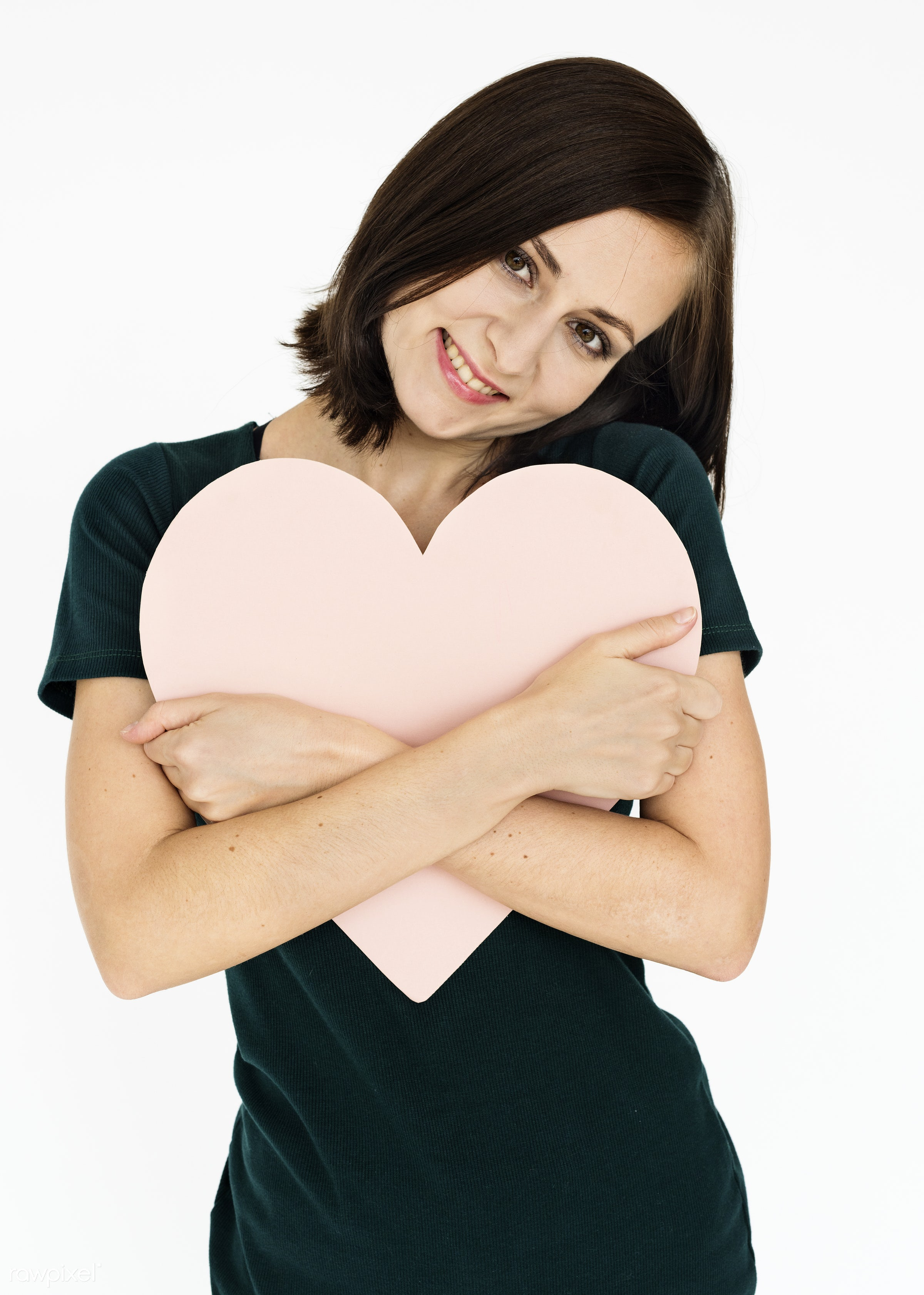 studio, expression, person, holding, people, love, woman, care, cheerful, smiling, isolated, heart, white, happiness, youth...