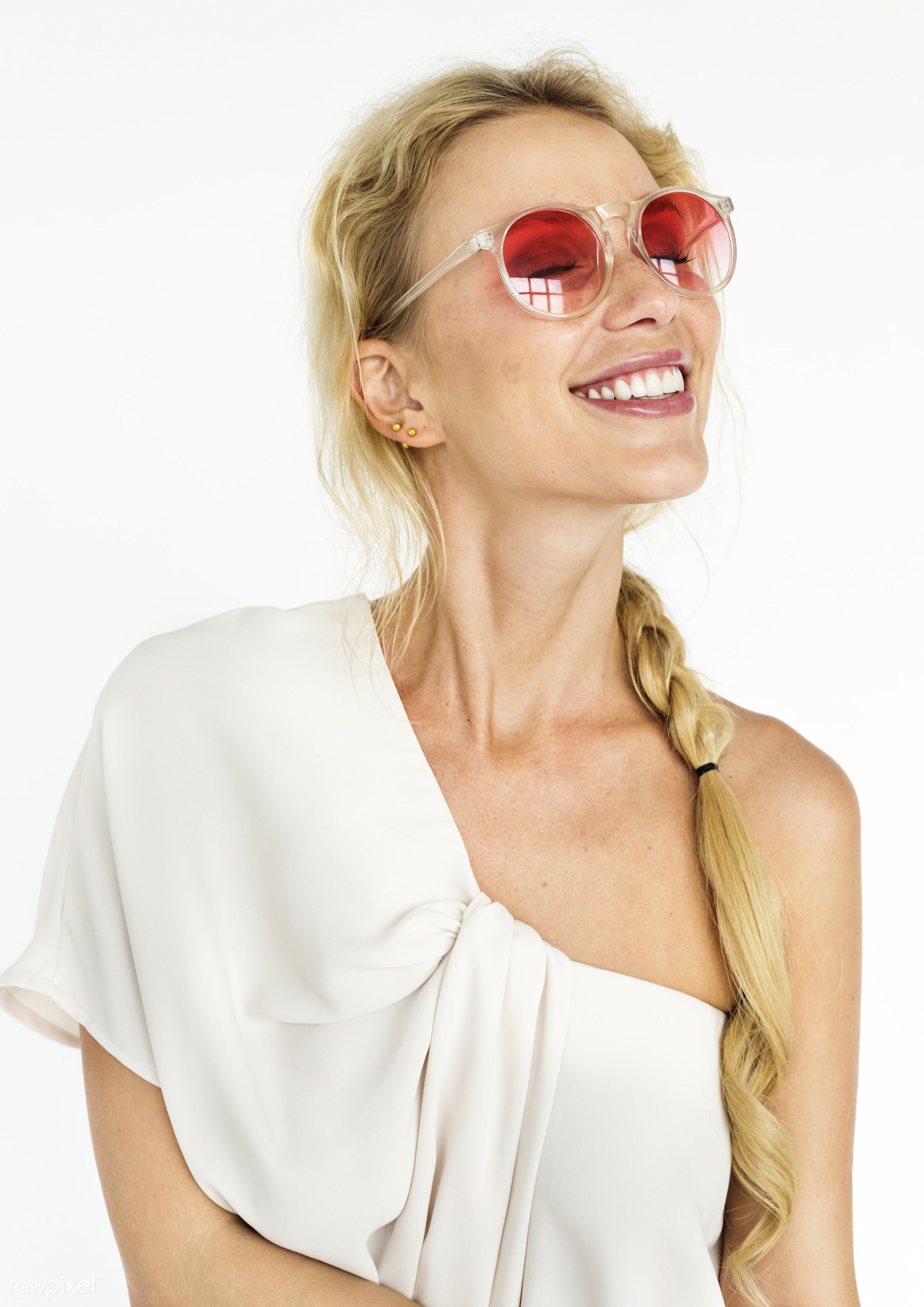 expression, studio, person, people, woman, cheerful, smiling, isolated, white, happiness, youth, sunglasses, portrait,...