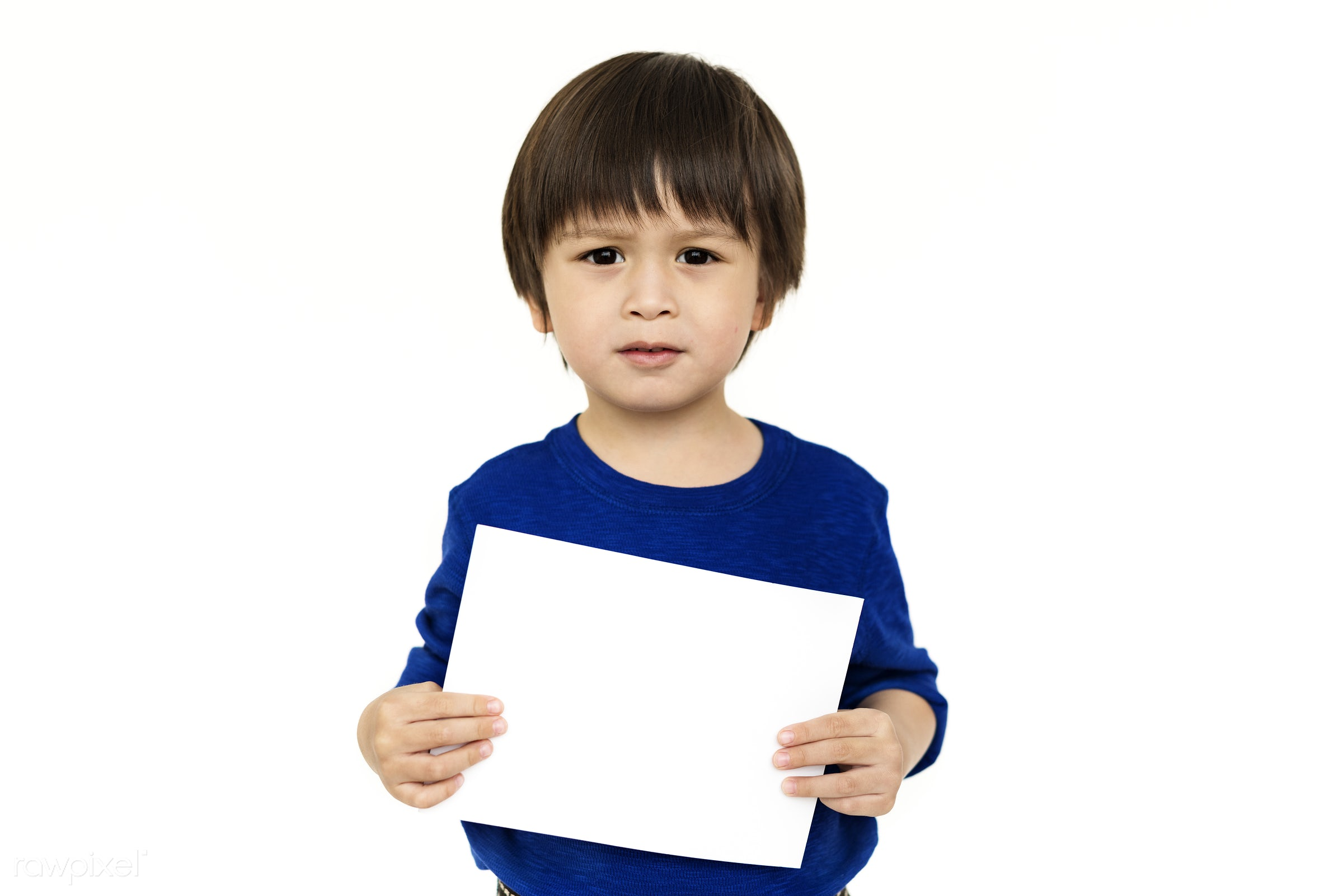 studio, expression, person, copy space, paper, isolated on white, advertising, children, kid, asian, child, empty, showing,...