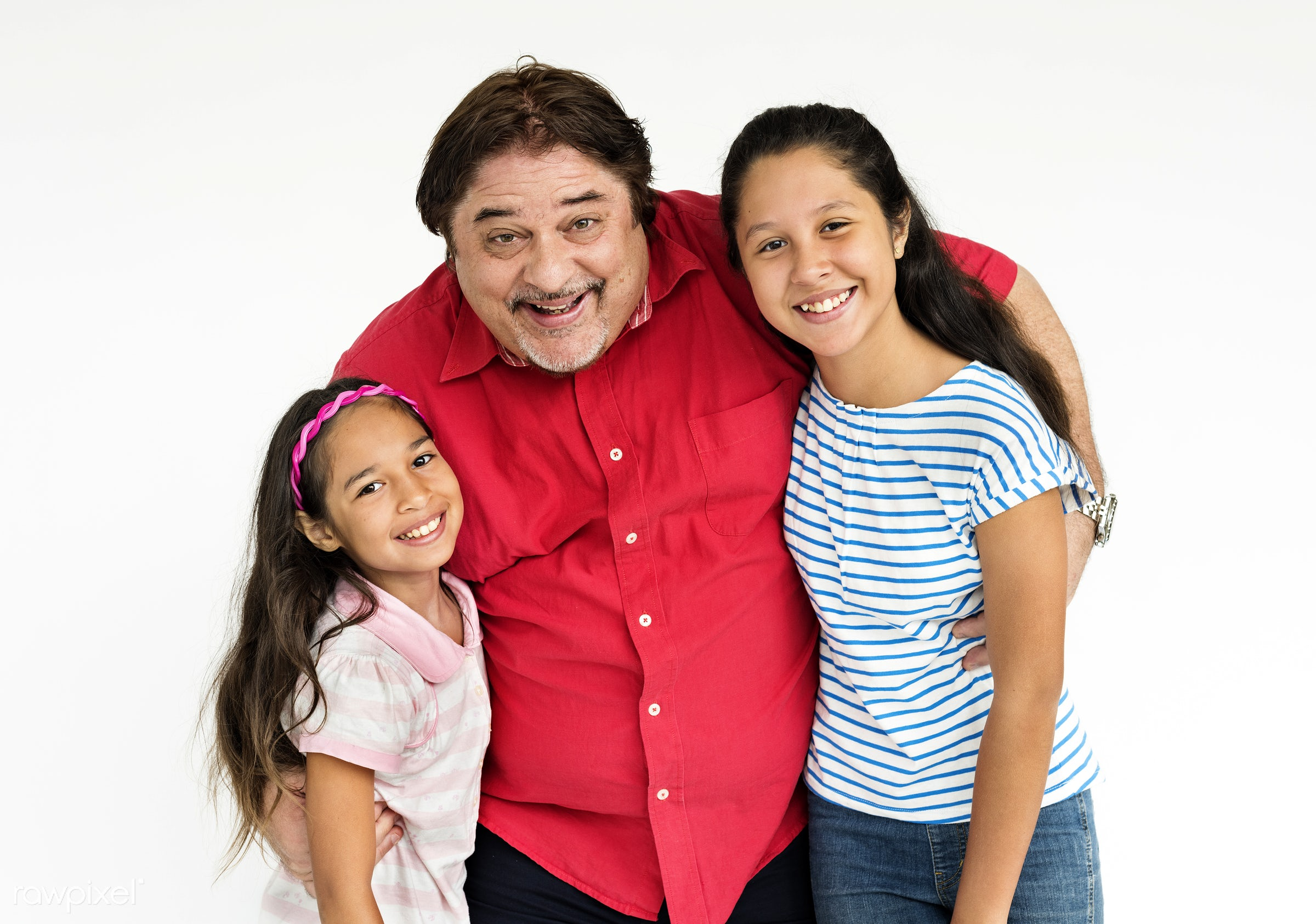 expression, studio, person, hug, isolated on white, husband, people, together, father, kid, caucasian, sister, love, young...