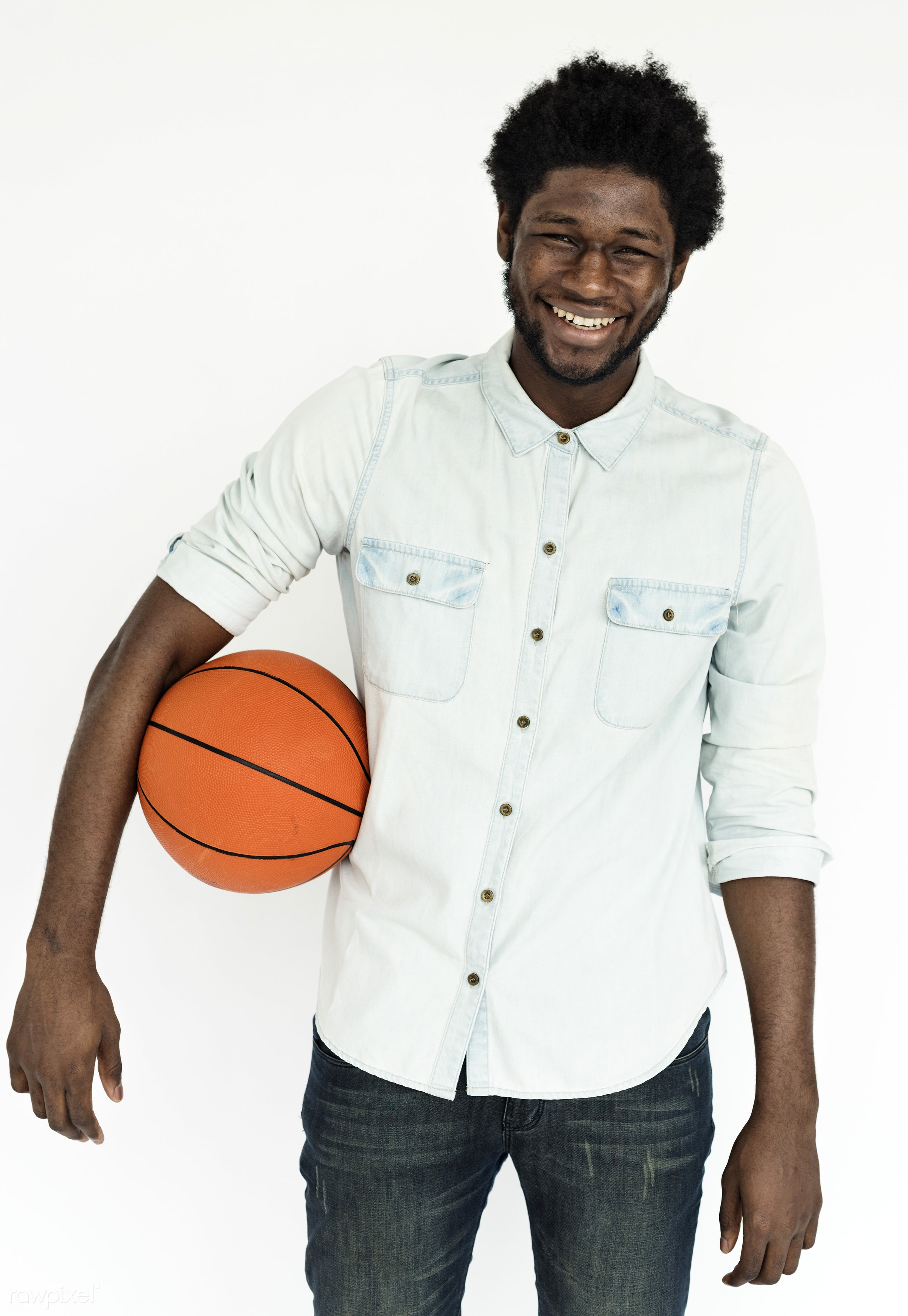 studio, basketball, expression, person, player, african, isolated on white, recreation, casual, cheerful, smiling, man,...