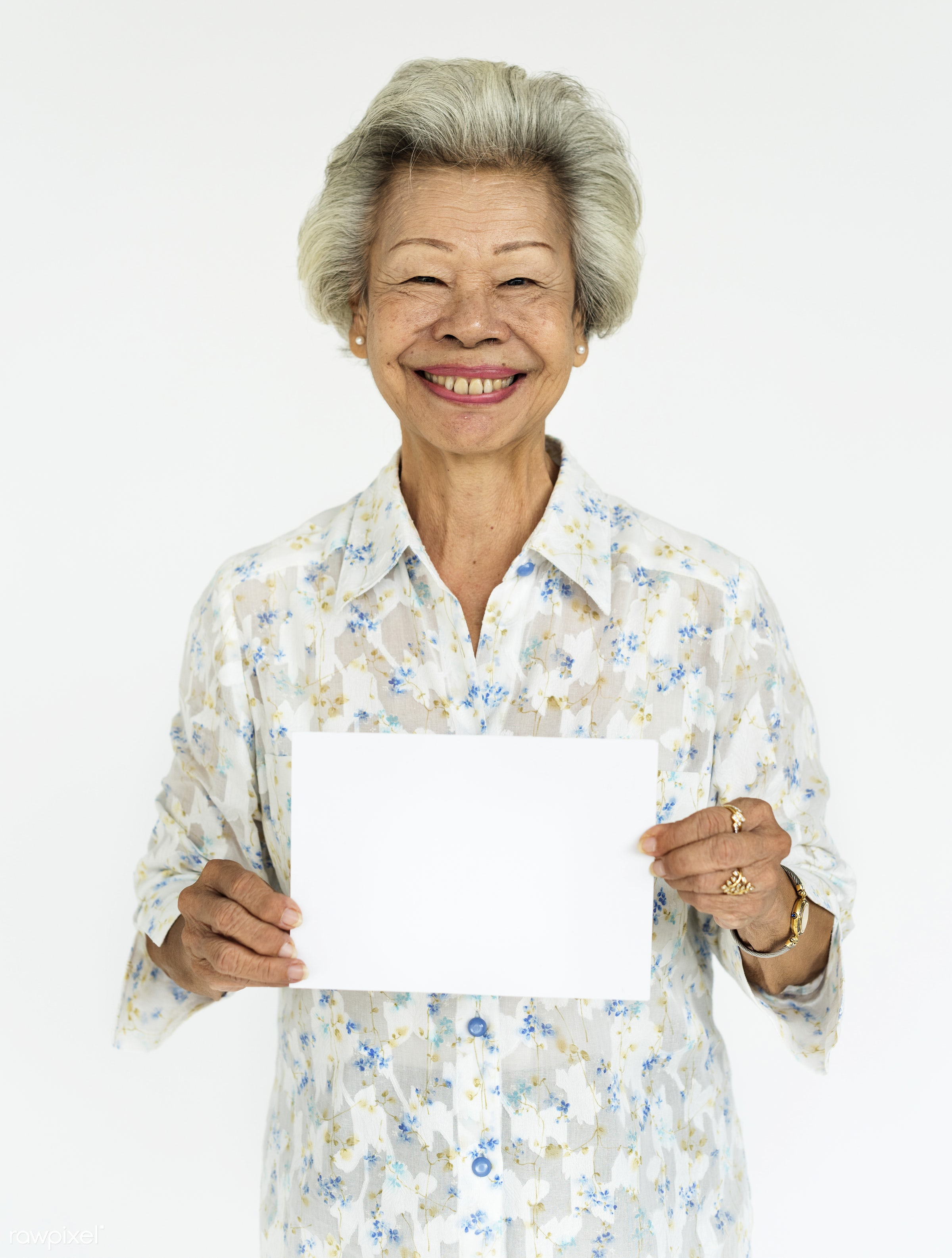 studio, expression, person, old, copy space, paper, isolated on white, advertising, asian, retirement, woman, empty, showing...