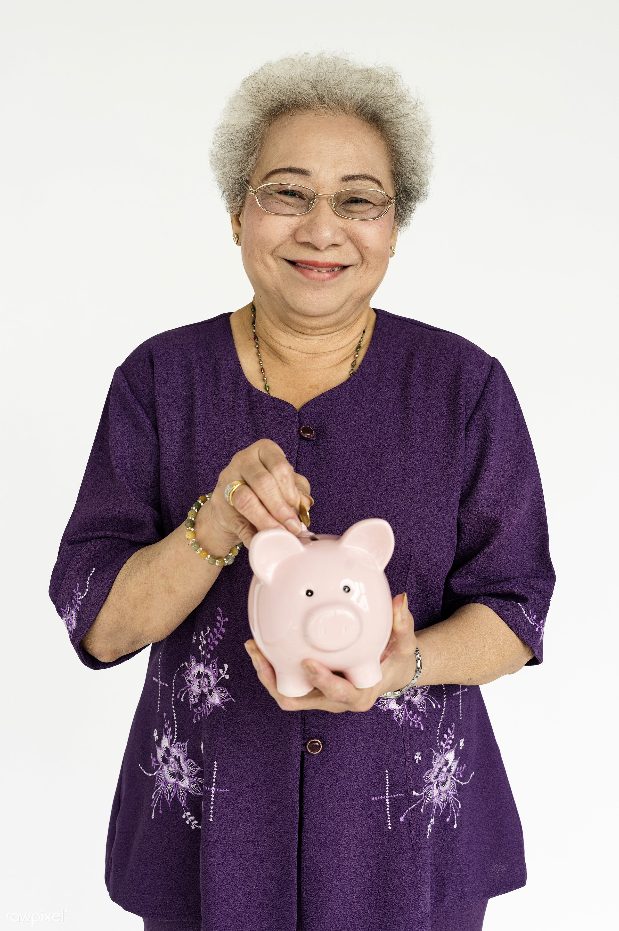 studio, expression, face, person, old, isolated on white, beauty, carefree, asian, retirement, woman, casual, money,...