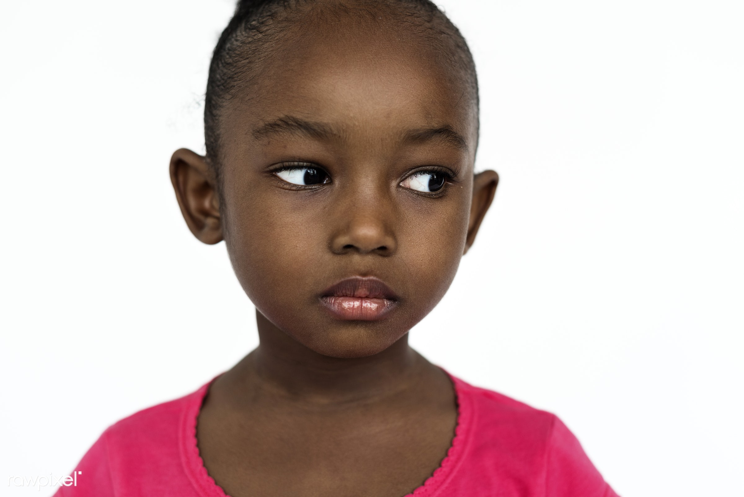 expression, studio, face, person, african, isolated on white, daughter, bored, angry, children, kid, child, girl,...