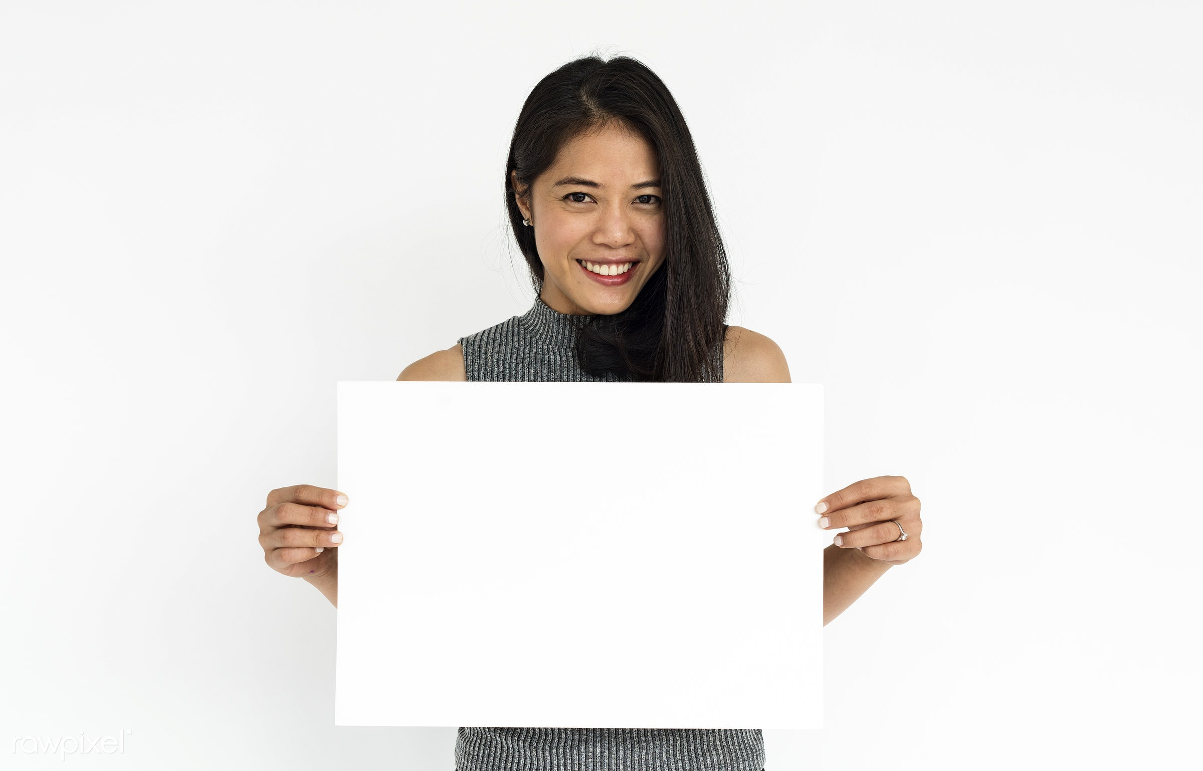 studio, expression, person, copy space, paper, isolated on white, advertising, asian, woman, empty, showing, cheerful,...