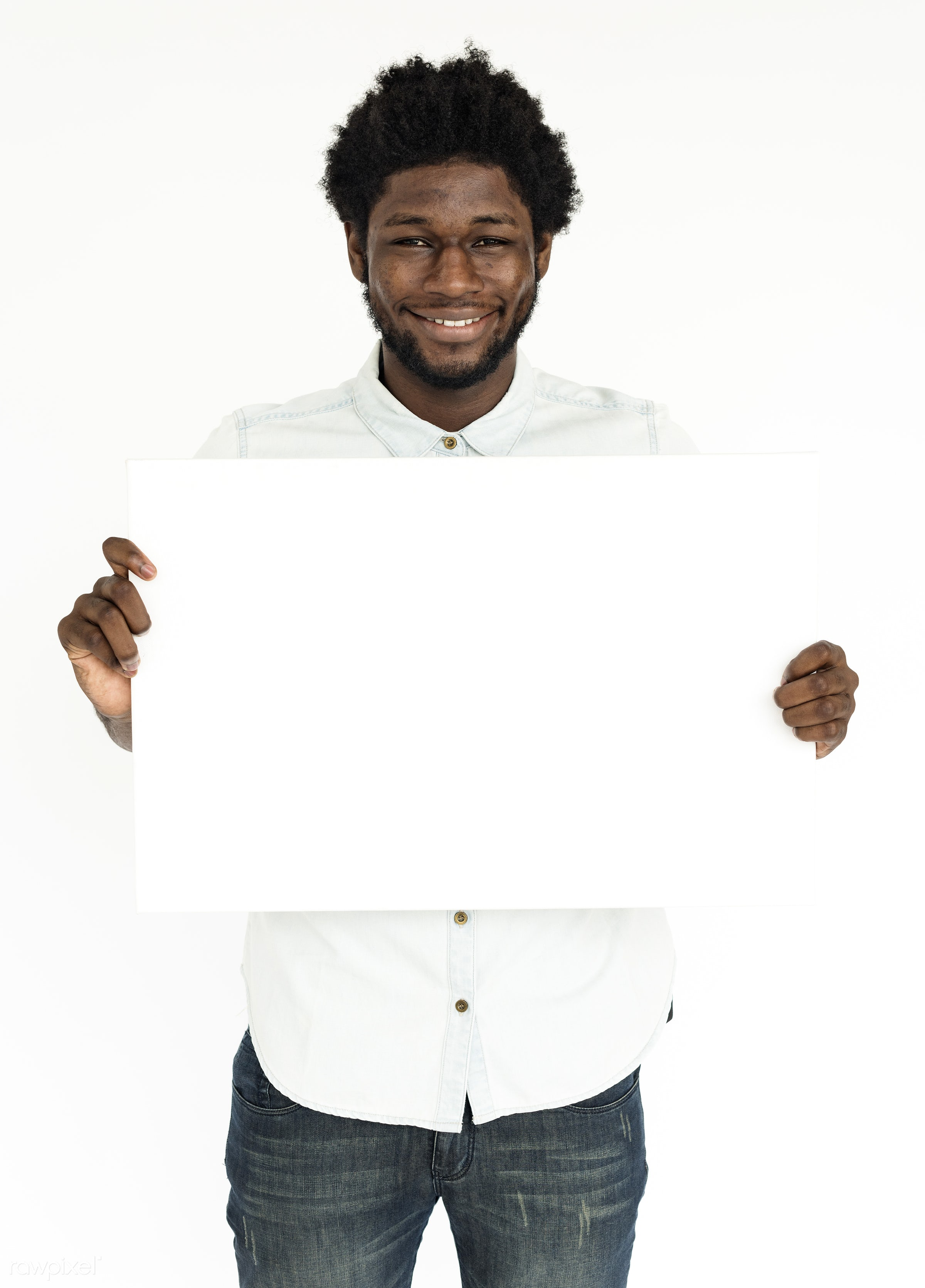 studio, expression, person, copy space, paper, isolated on white, advertising, casual, empty, showing, man, american descent...