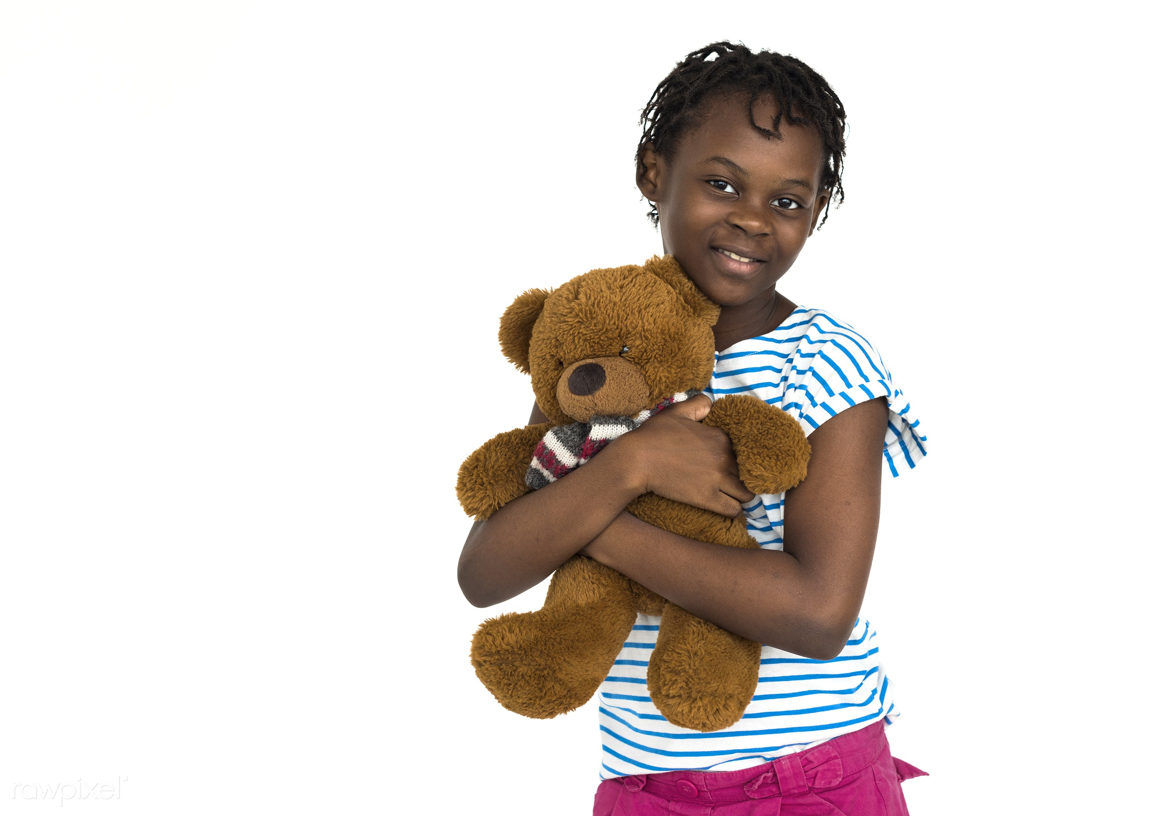 expression, studio, person, hug, holding, cuddle, kid, lifestyle, childhood, cheerful, smiling, isolated, african descent,...