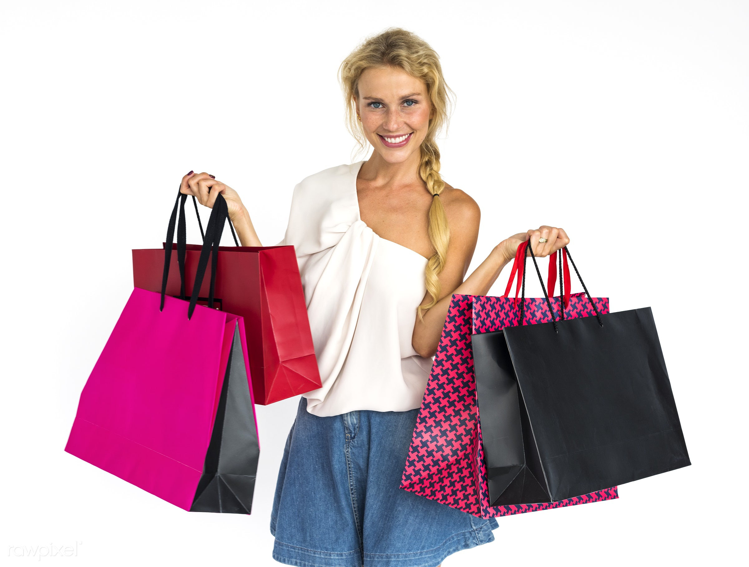 expression, studio, shop, person, store, holding, customer, consumer, caucasian, woman, spending, purchases, isolated,...