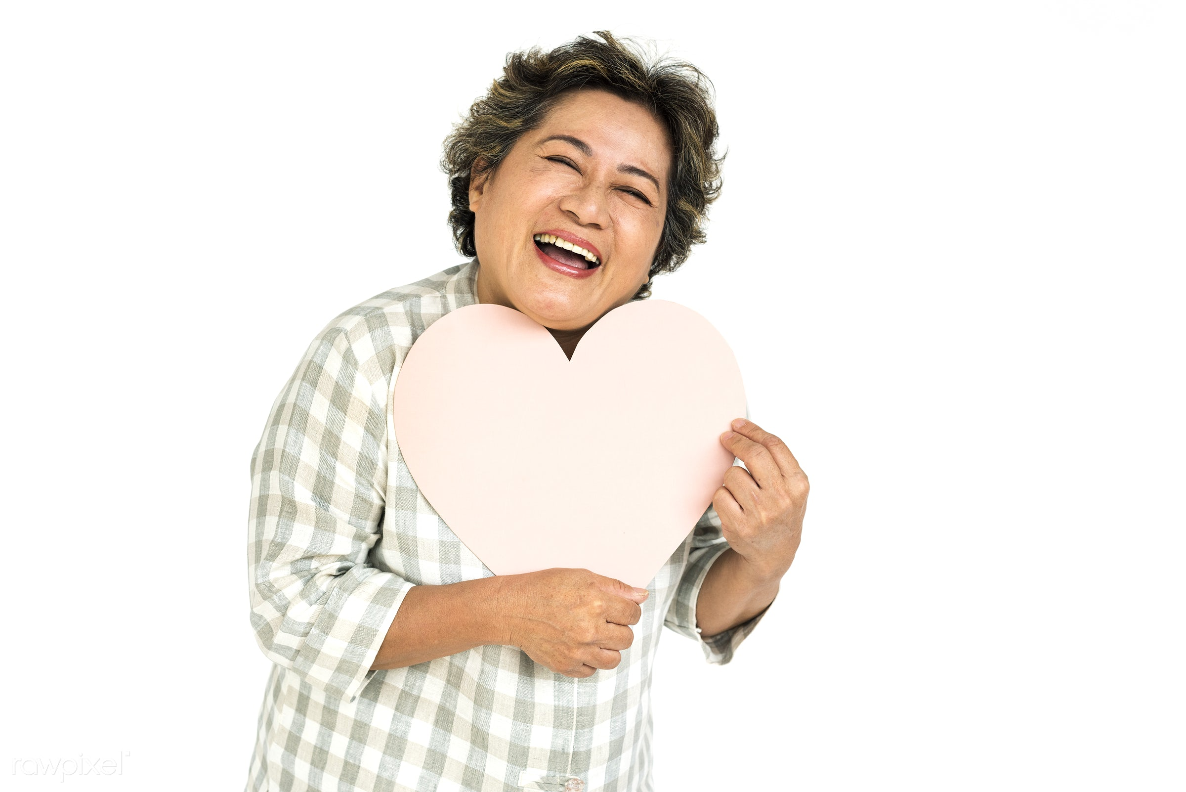 studio, expression, person, holding, people, asian, love, woman, care, cheerful, smiling, isolated, heart, white, happiness...
