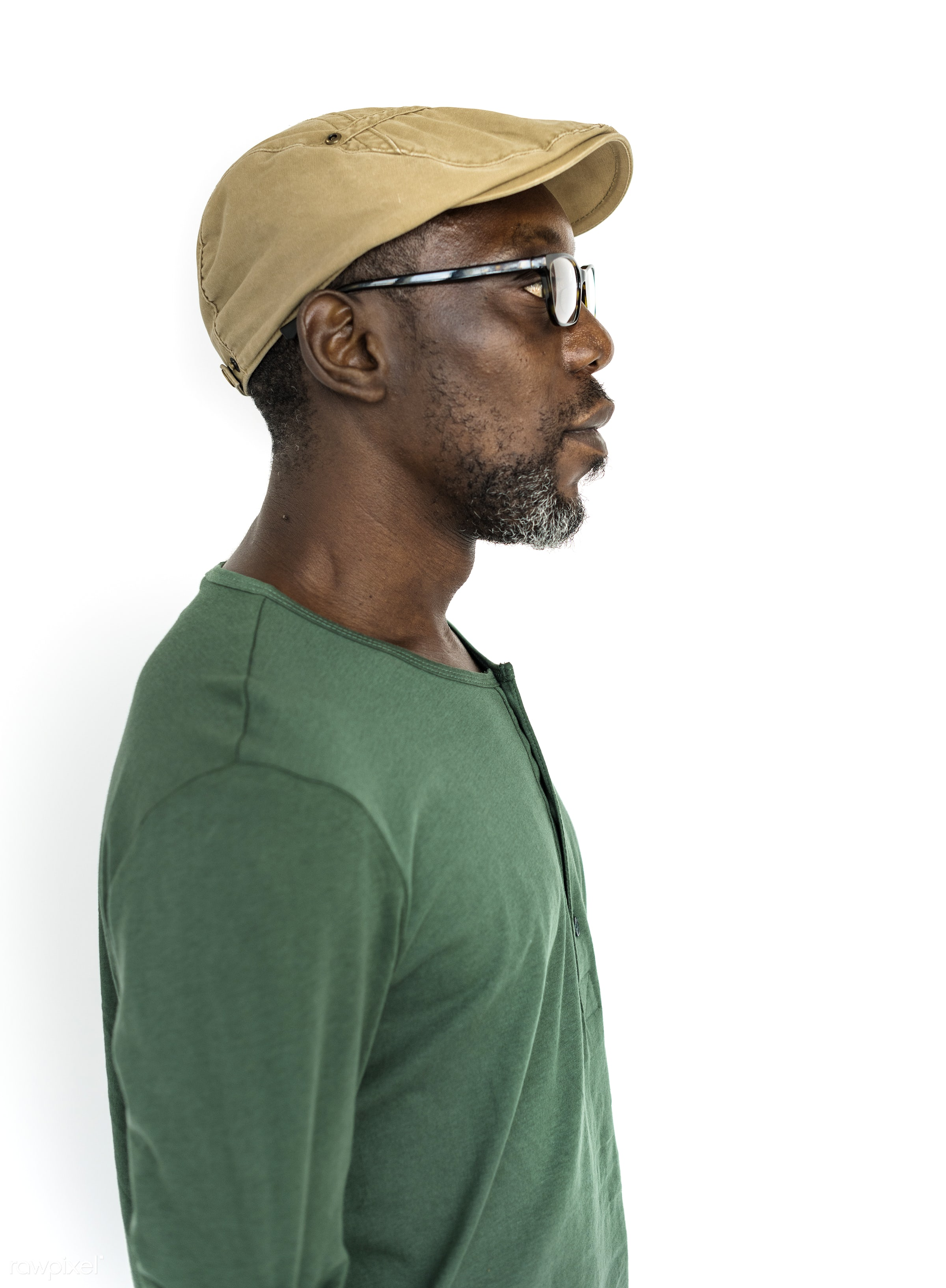 expression, studio, face, golf cap, person, glasses, isolated on white, people, casual, man, isolated, male, white, white...