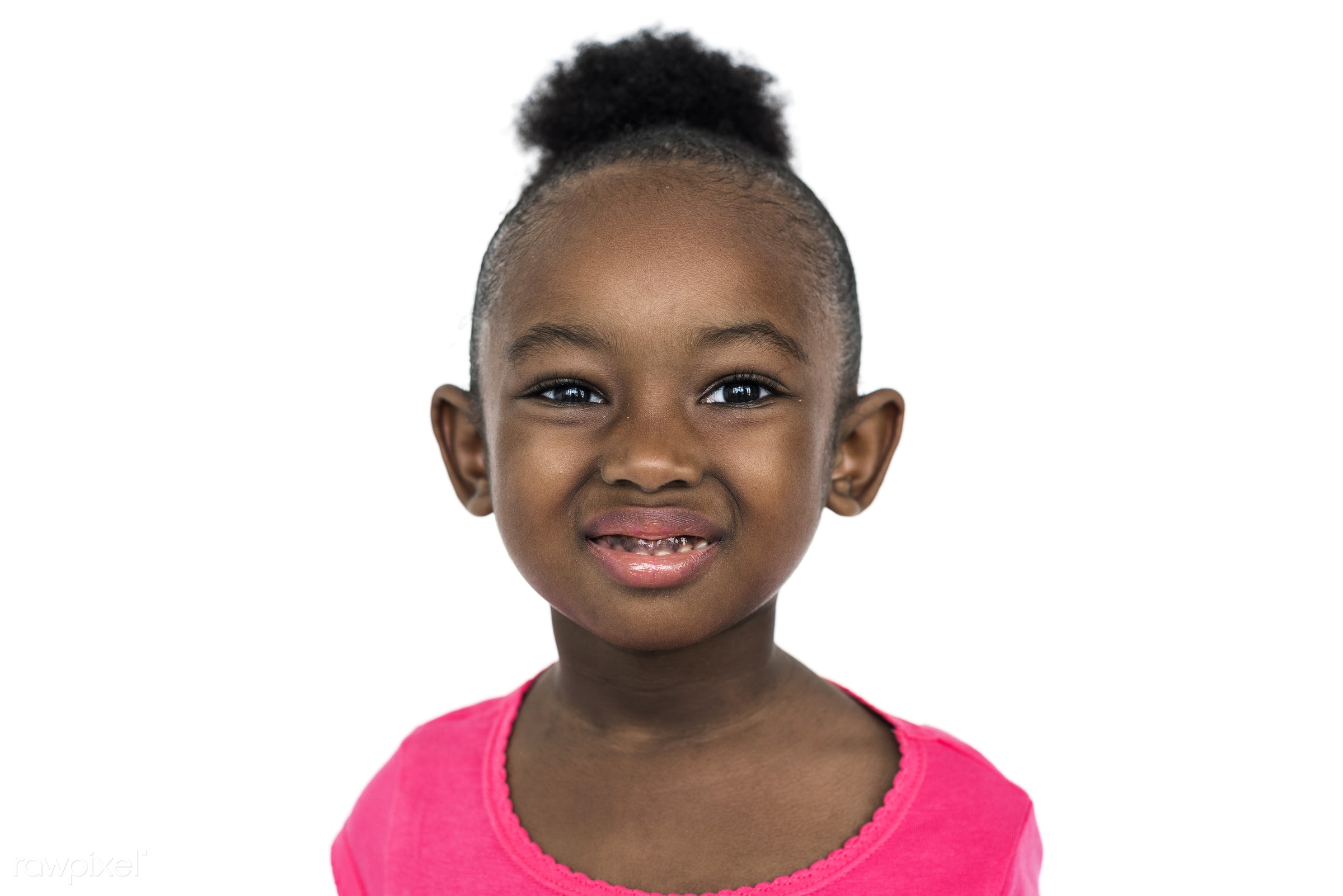 studio, expression, person, people, kid, childhood, smile, cheerful, smiling, isolated, little girl, african descent, white...