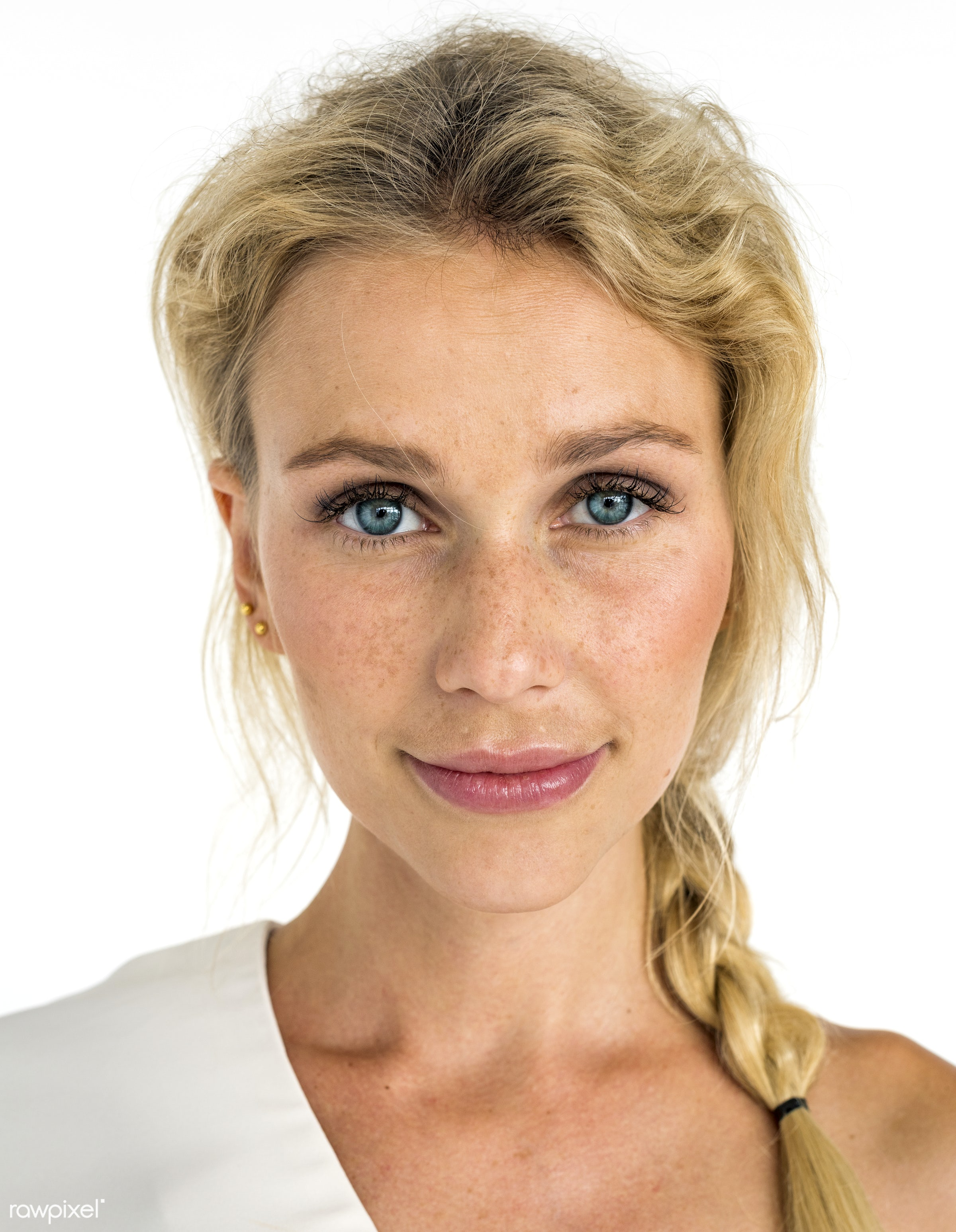 Portrait of a blonde woman - adult, attractive, background, beautiful, beauty, blond, blonde, blue eyes, braid, braided,...