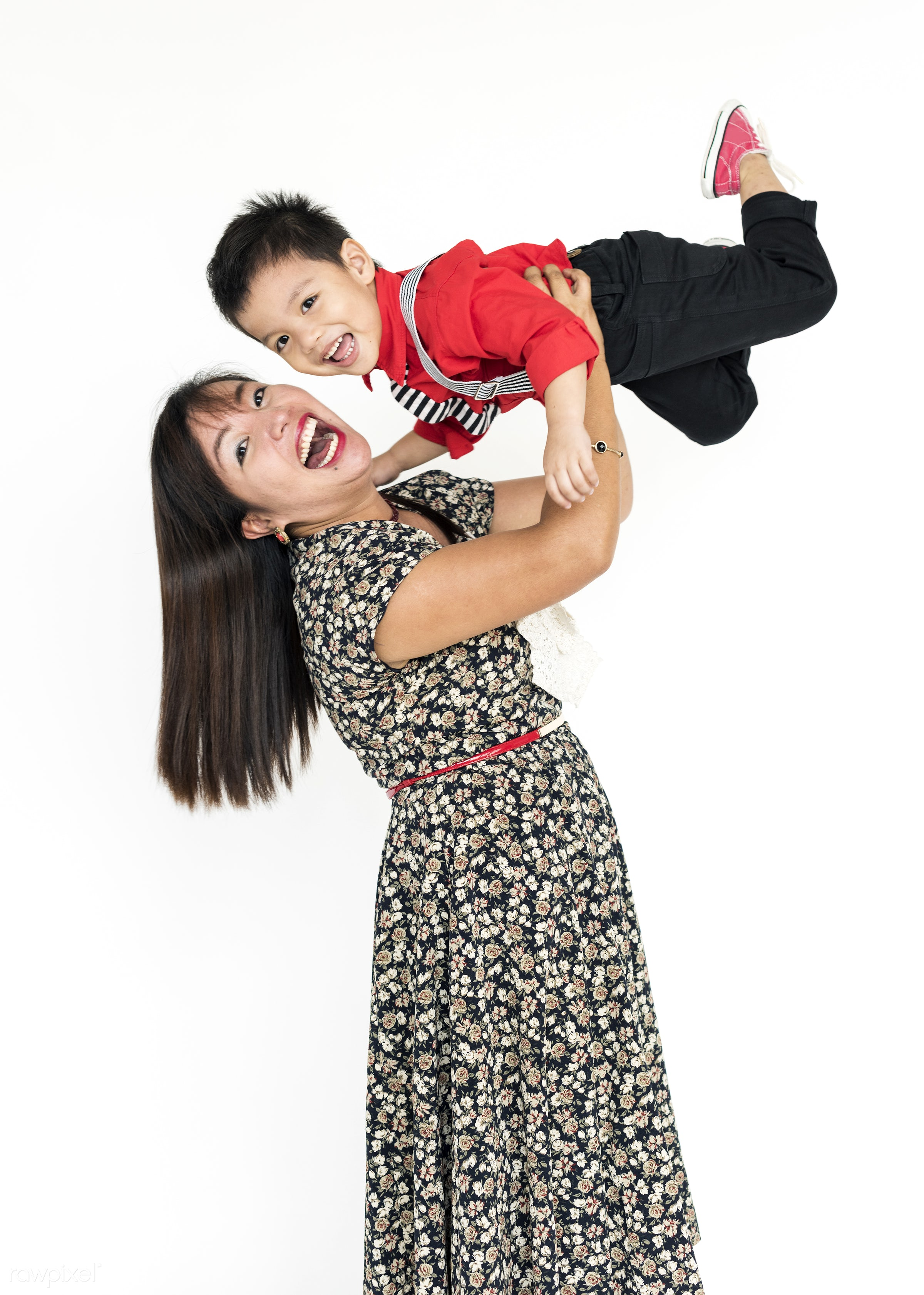 studio, expression, person, people, asian, kid, love, woman, family, childhood, smile, cheerful, smiling, isolated, white,...