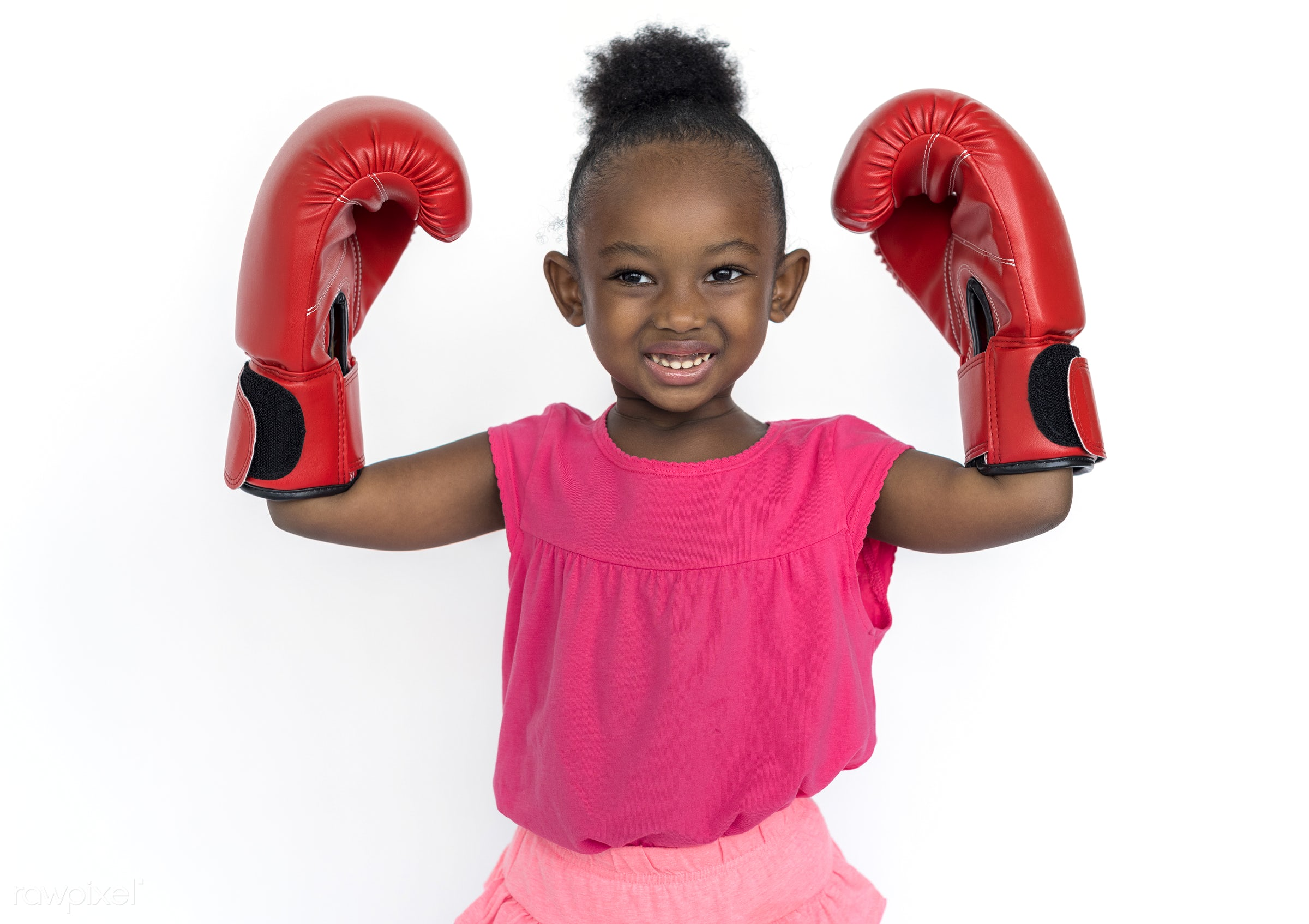studio, expression, person, people, kid, childhood, smile, cheerful, smiling, punch, isolated, little girl, african descent...