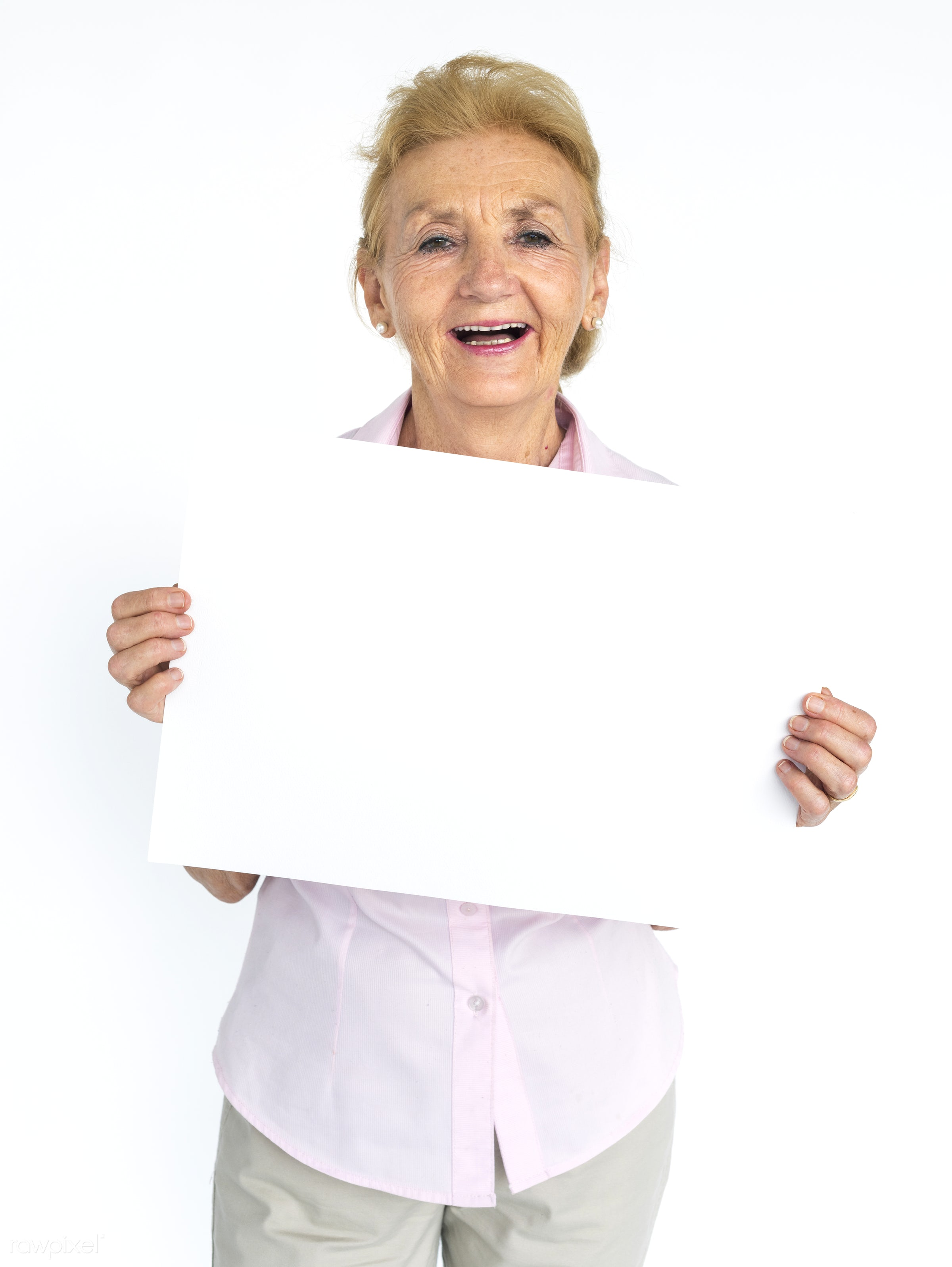 studio, expression, person, holding, people, placard, woman, smile, cheerful, smiling, isolated, white, happiness, portrait...