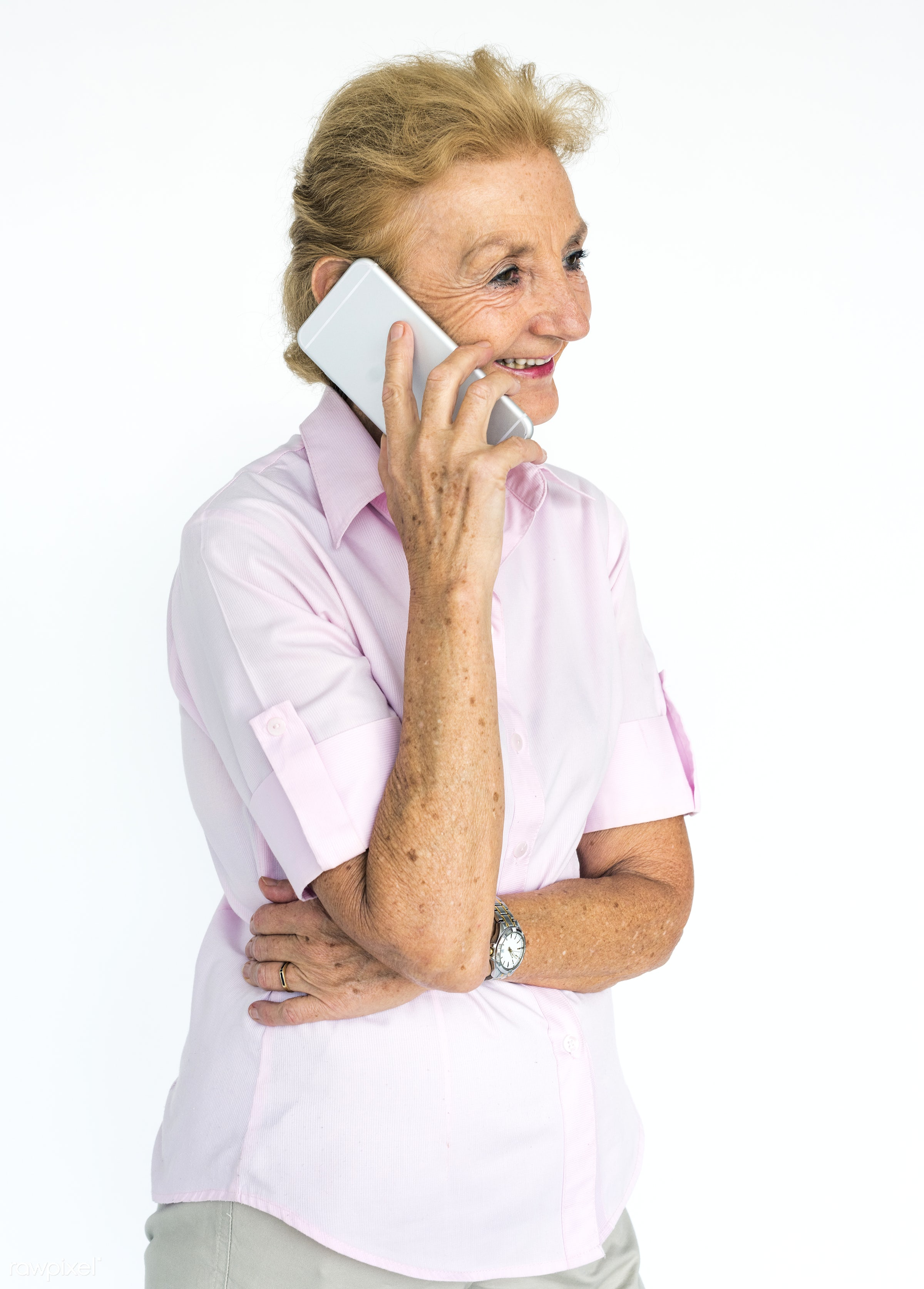 studio, expression, person, technology, people, woman, mobile phone, smile, cheerful, smiling, isolated, connection, white,...
