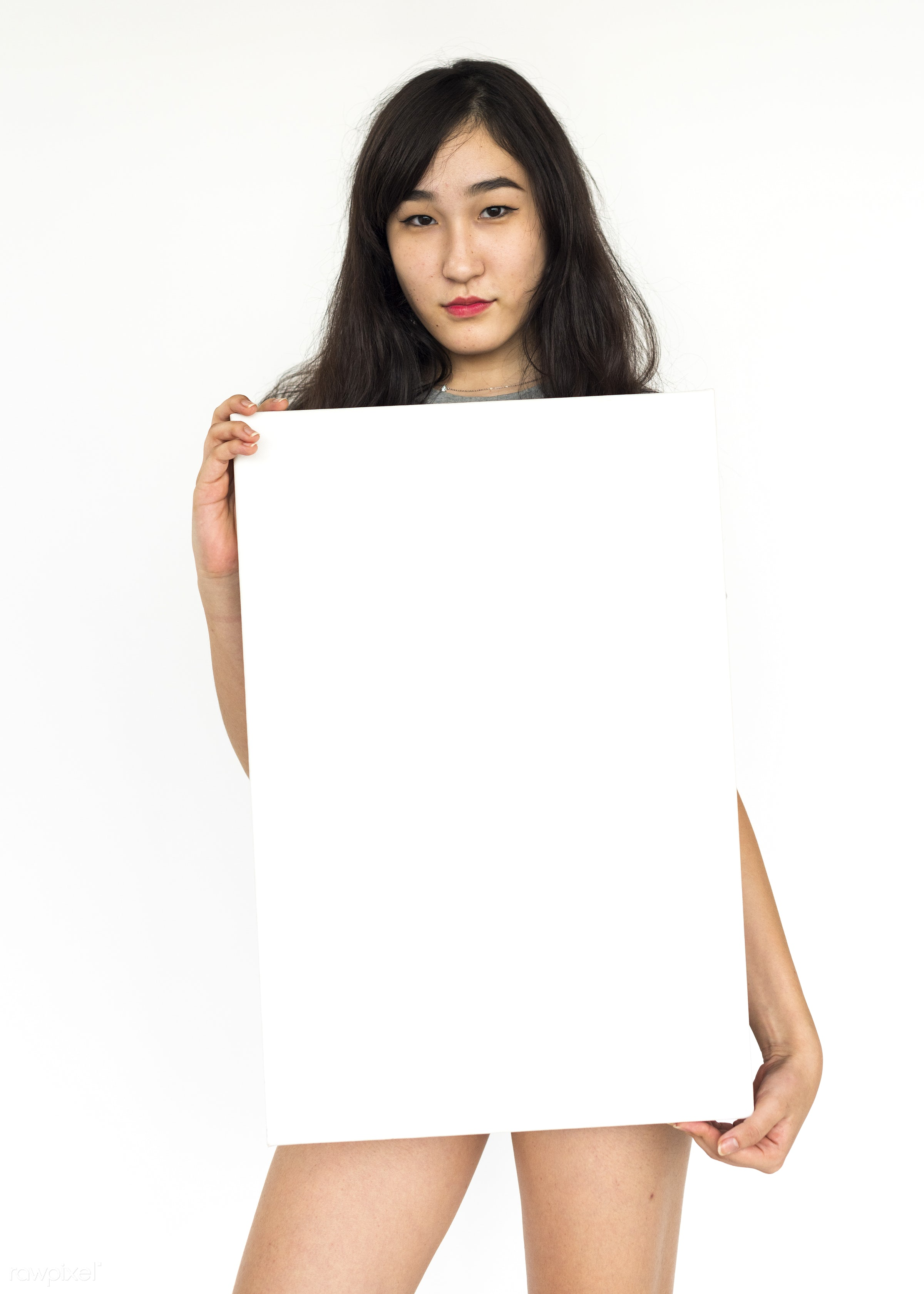 studio, expression, person, holding, people, asian, placard, woman, smile, cheerful, smiling, isolated, white, asian woman,...