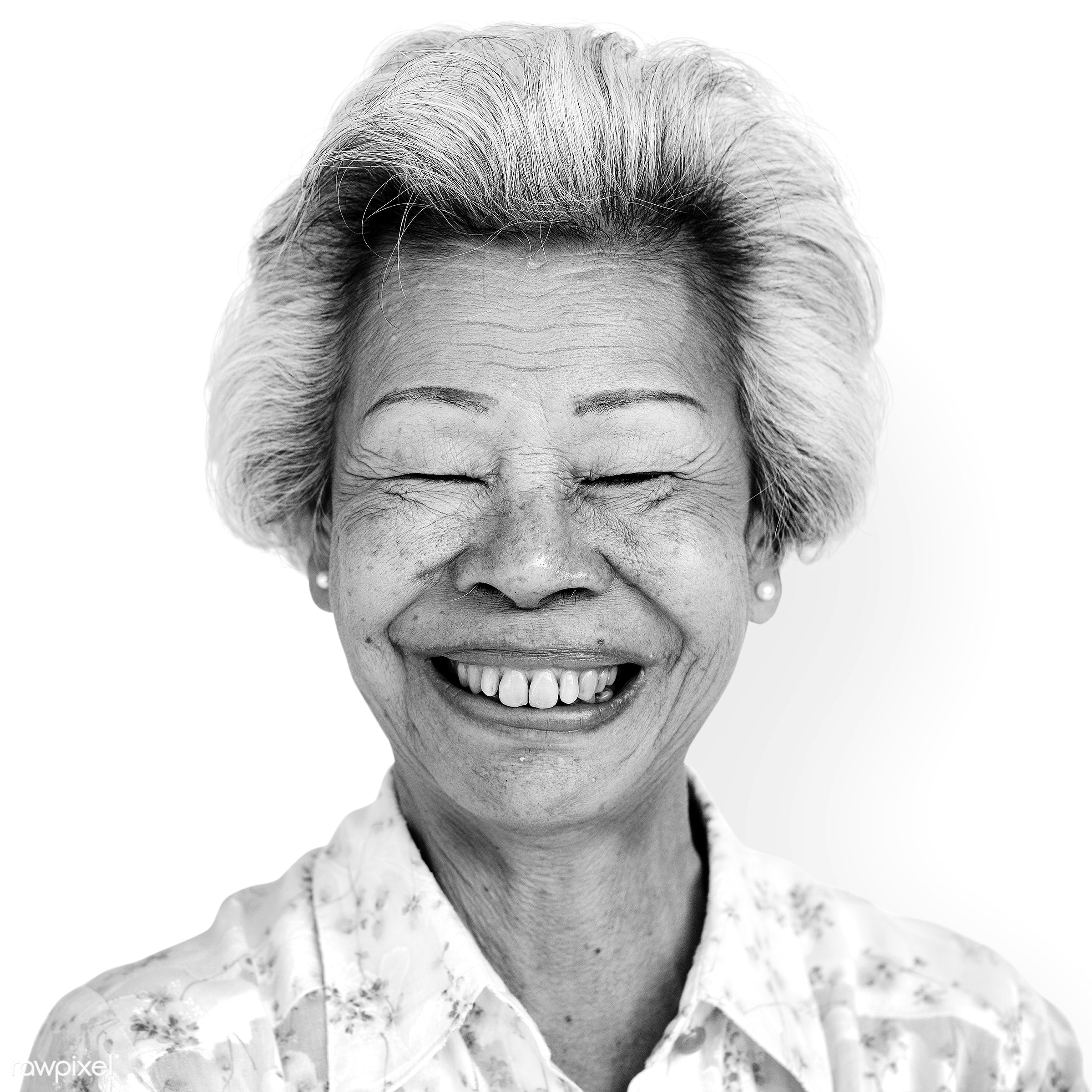 Portrait of a Thai woman - alone, asia, asian, black and white, casual, cheerful, chinese, elderly, emotion, expression,...