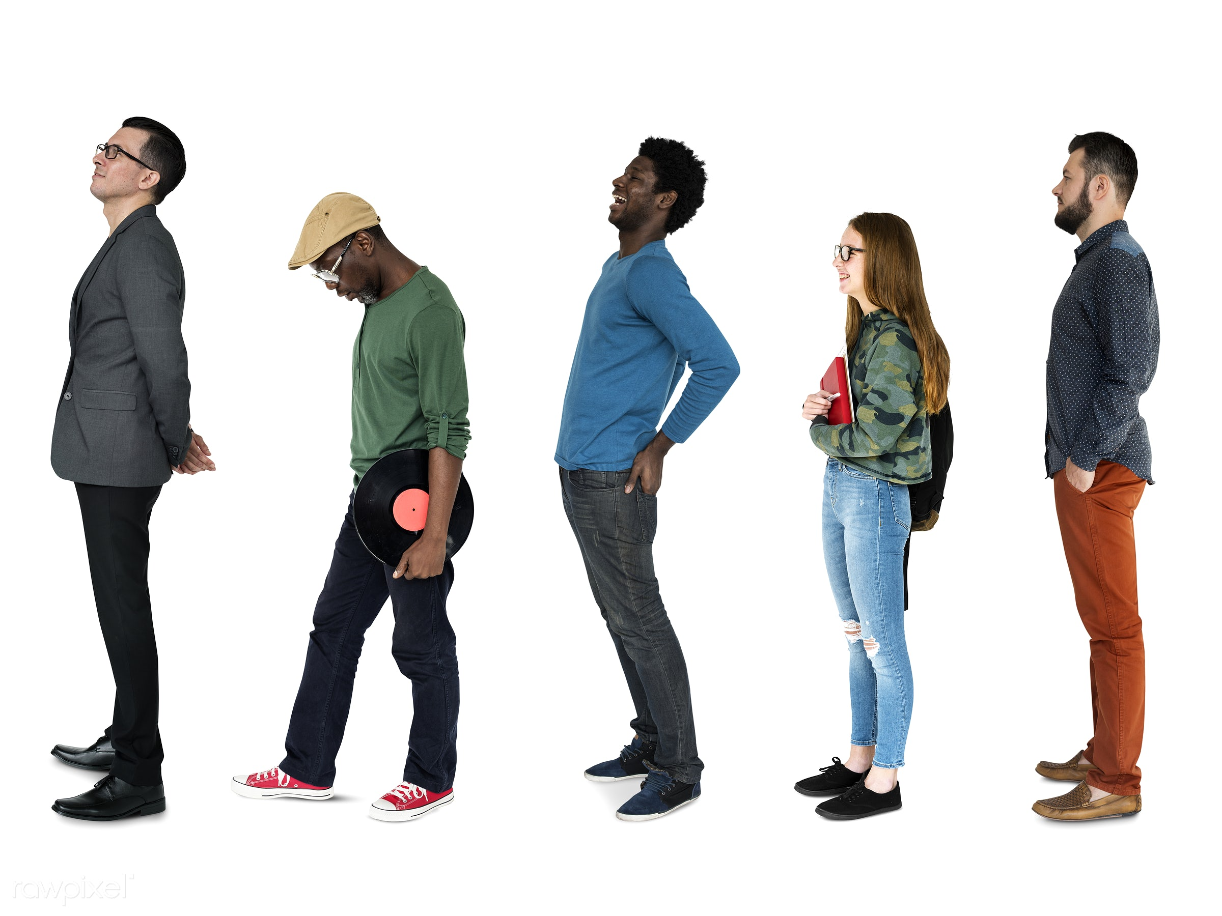 Diverse people set - studio, person, african, diverse, set, entertain, people, attraction, disc, caucasian, life, young...