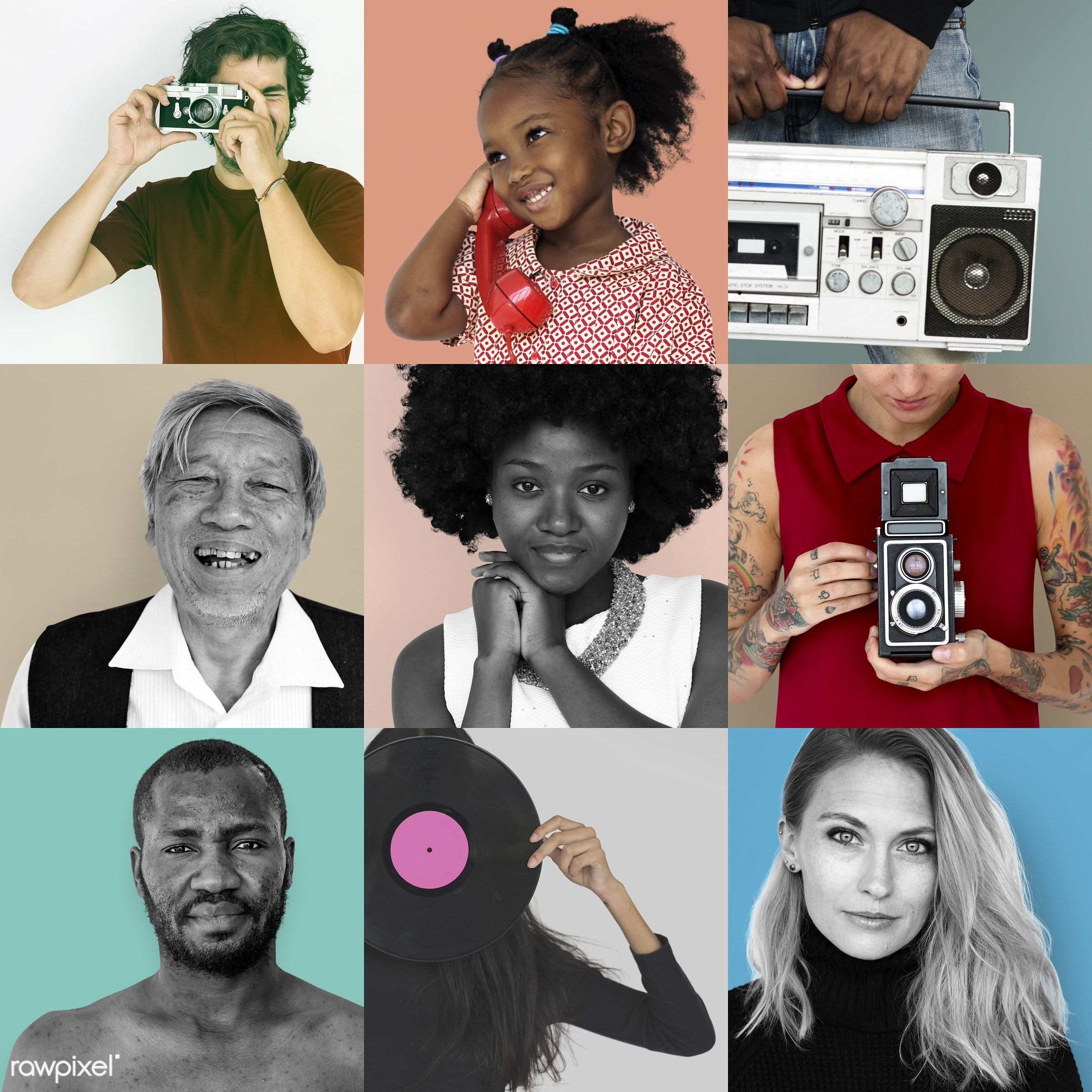 studio, old, fashion, diverse, set, retro, equipment, collection, people, style, woman, vinyl, mixed, collage, men, classic...