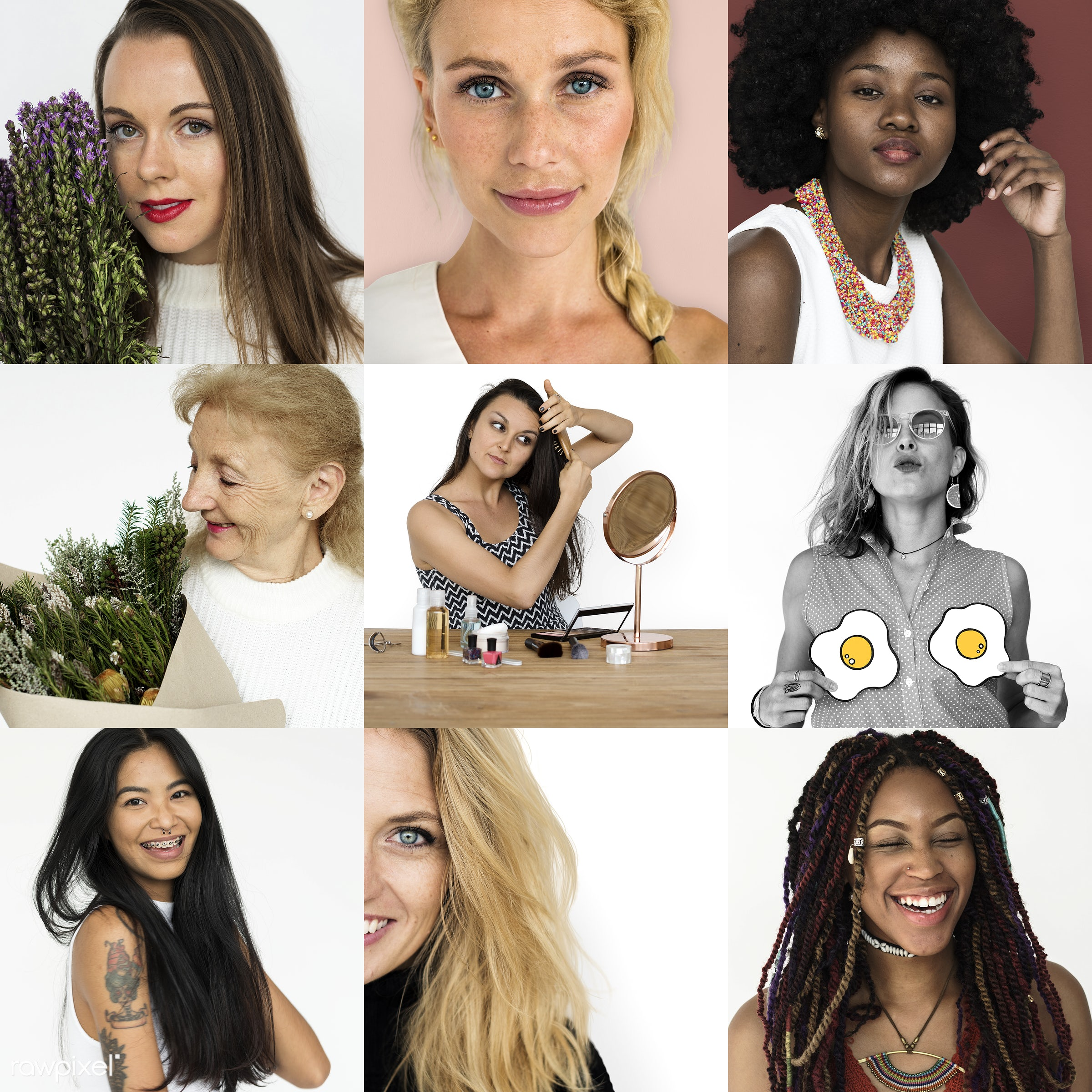 different, studio, playful, choice, diverse, variation, collages, race, people, positivity, style, happy, be happy, woman,...