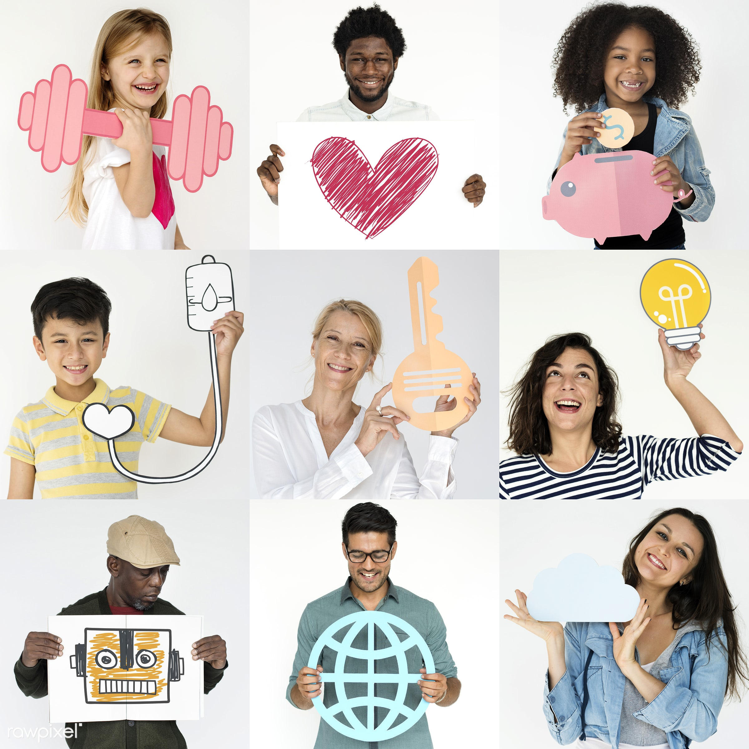 person, diverse, show, people, caucasian, asian, kid, young adult, rocket, woman, care, key, isolated, paper craft, heart,...