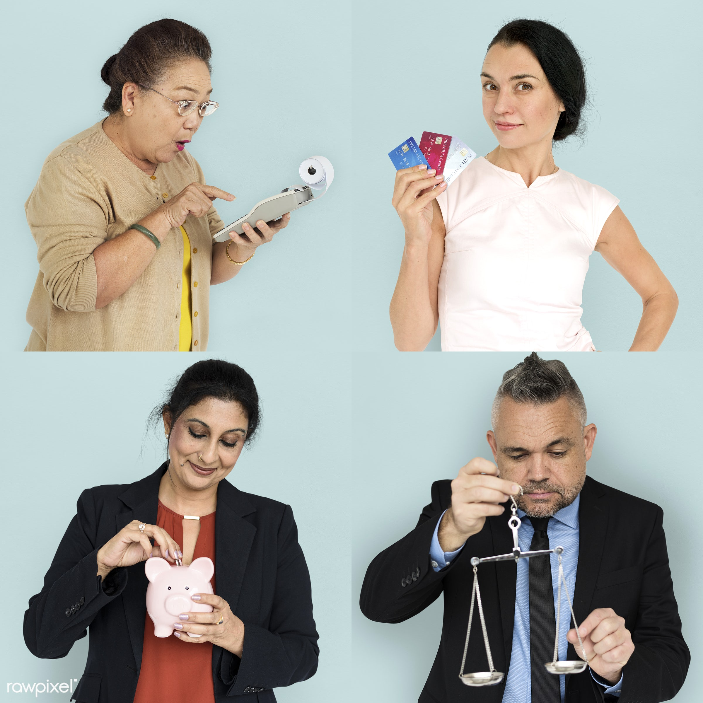 Set of portraits of people with business concepts - expression, studio, person, save, change, people, balance, young adult,...