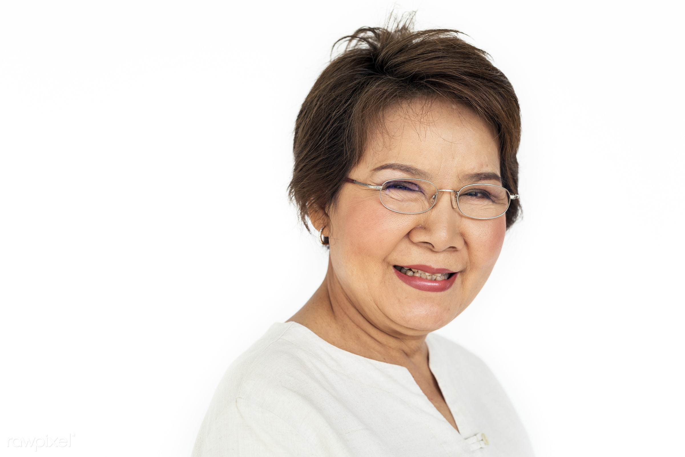 Portrait of a happy senior Asian woman - expression, studio, person, people, asian, woman, cheerful, smiling, isolated,...
