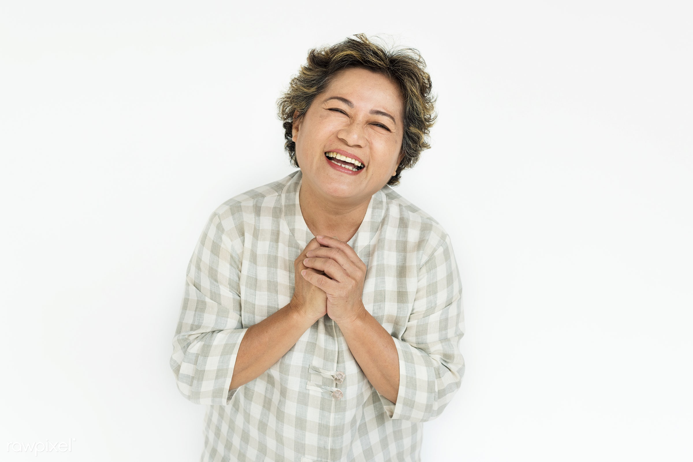 Studio portrait of an Asian woman - studio, expression, person, people, asian, woman, cheerful, smiling, isolated, white,...