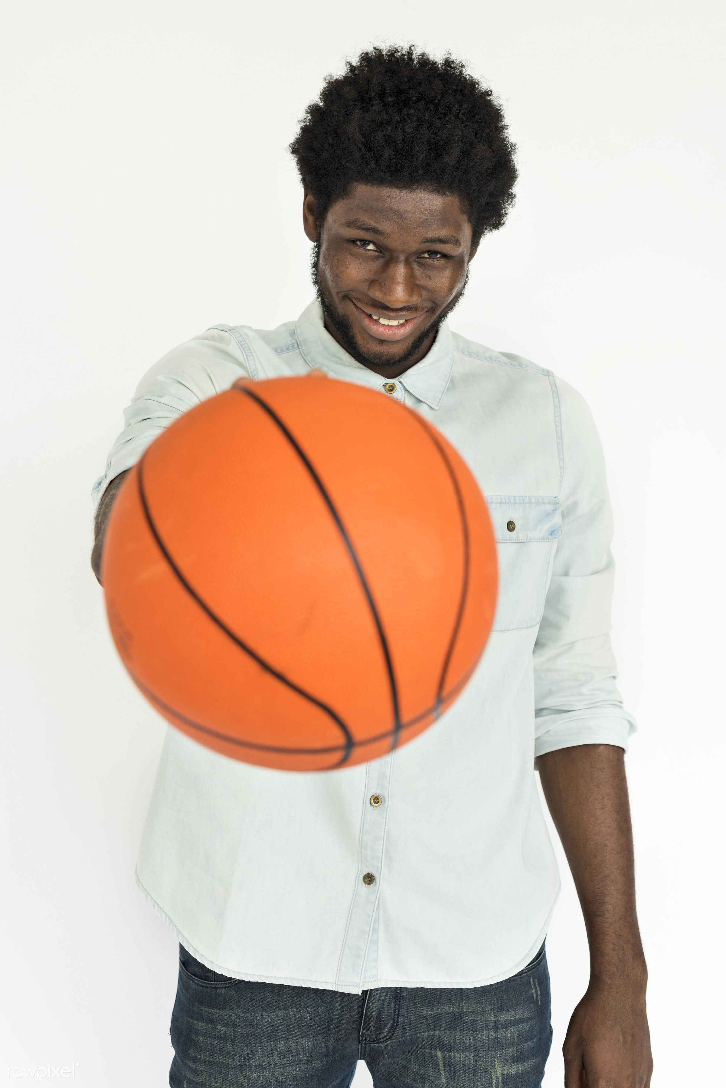 expression, basketball, studio, face, person, isolated on white, joy, carefree, people, laughing, fresh, happy, casual,...
