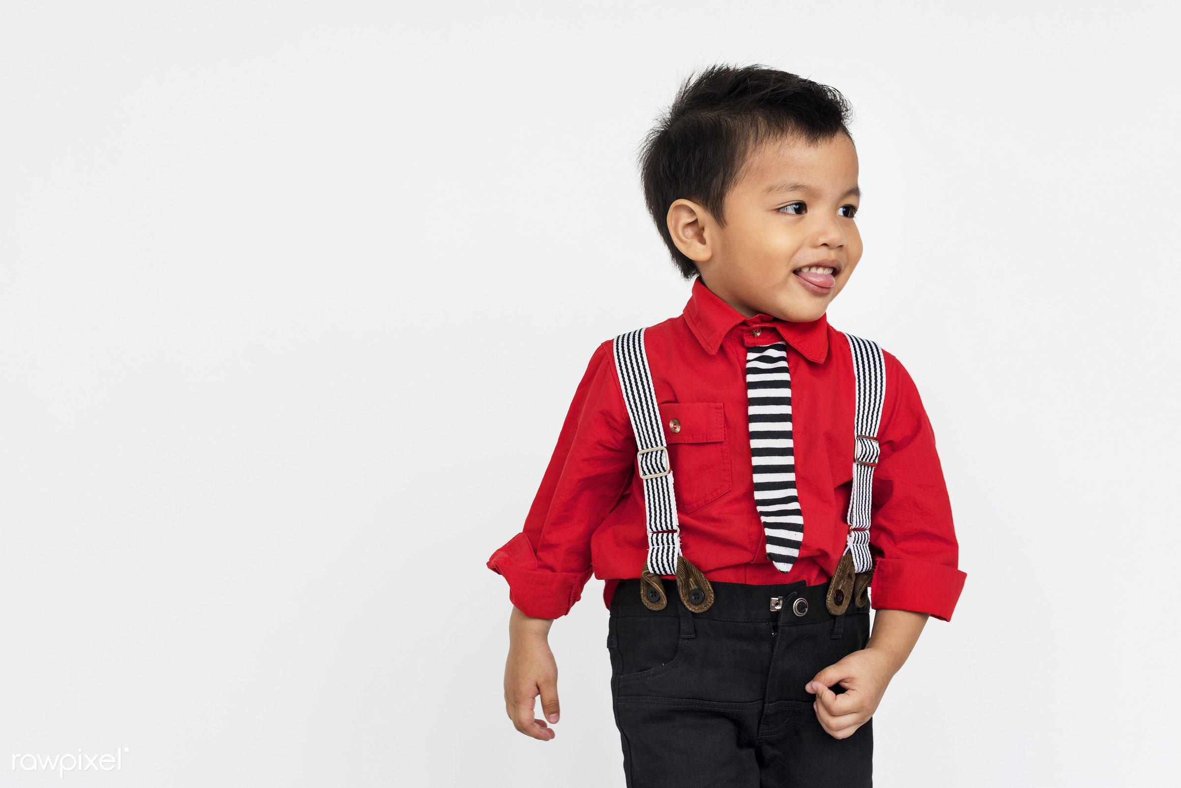 Portrait of a young Asian boy - studio, expression, face, playful, joy, little, carefree, cute, kid, asian, modern, child,...