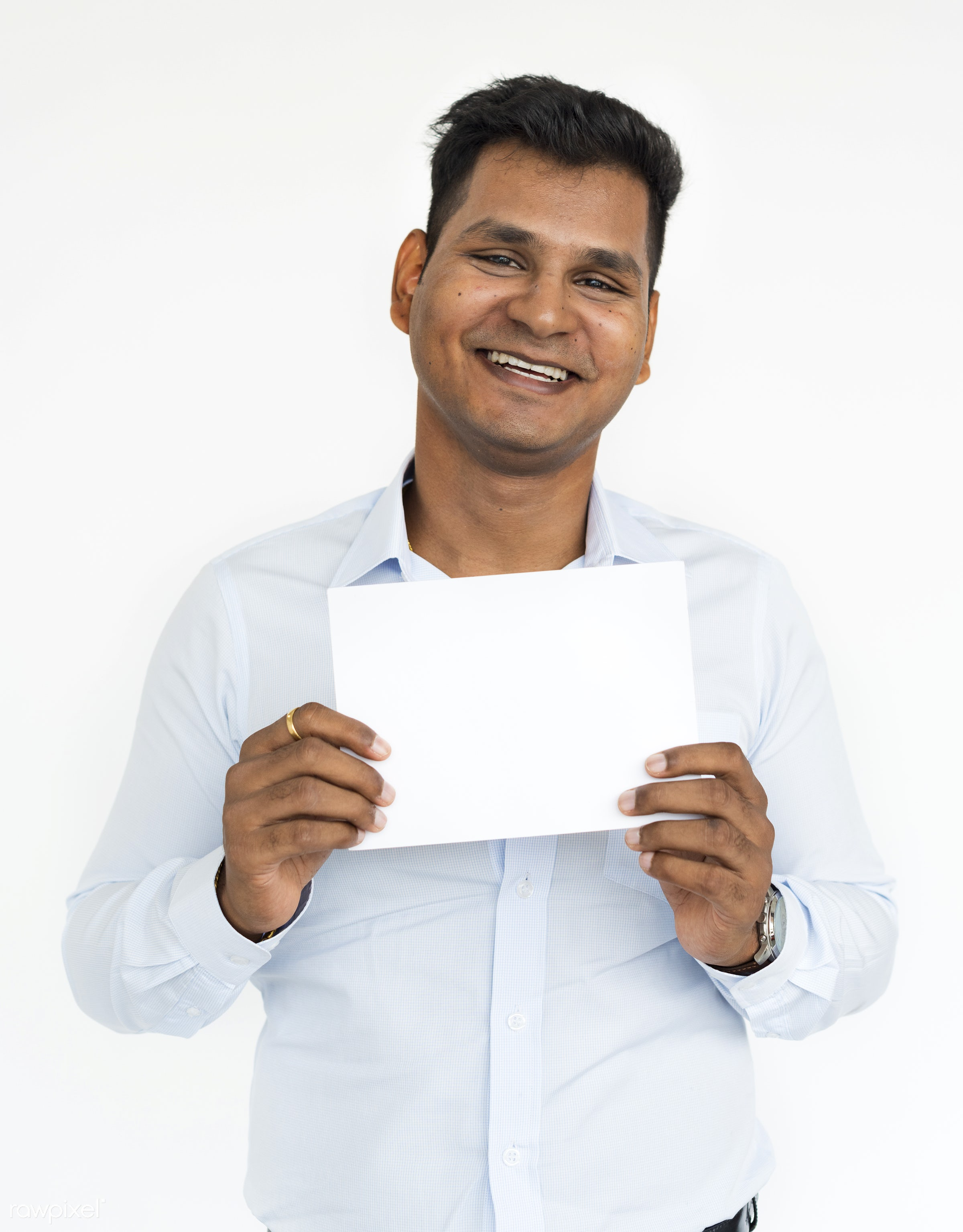 studio, expression, face, person, copy space, holding, joy, isolated on white, indian ethnicity, carefree, people, placard,...