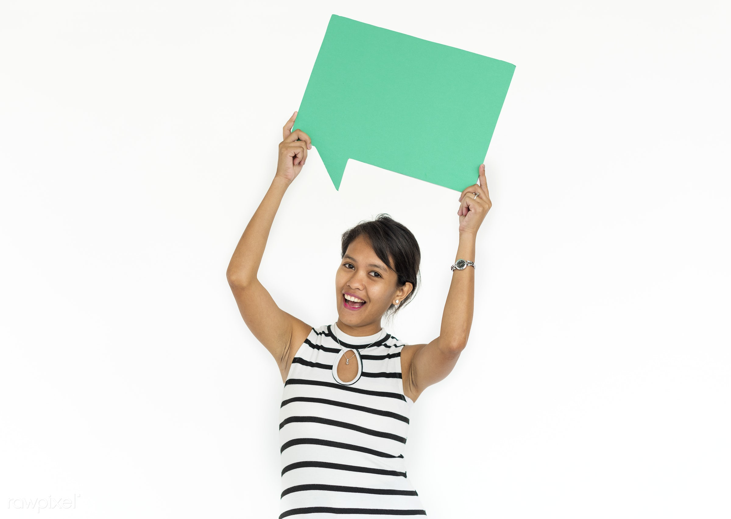 studio, expression, person, holding, isolated on white, hilarious, people, asian ethnicity, woman, speech bubble, happy,...