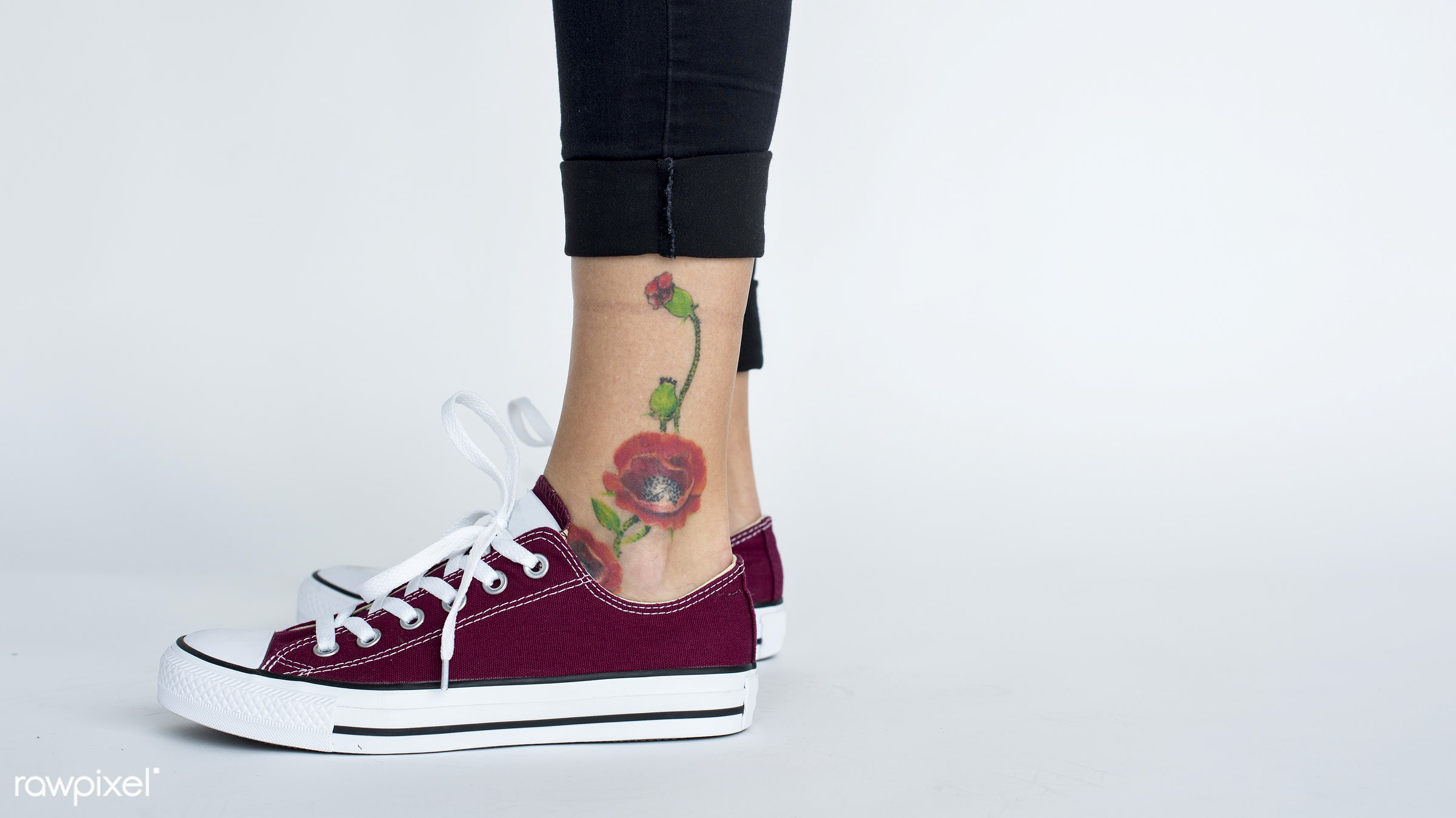 studio, expression, person, isolated on white, ground, people, caucasian, woman, casual, tattoo, flower, shoes, isolated,...
