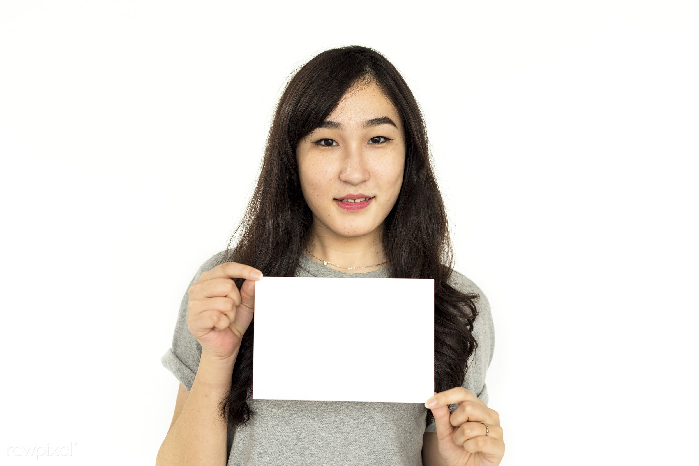studio, expression, person, holding, copyspace, isolated on white, advertising, people, placard, asian ethnicity, woman,...