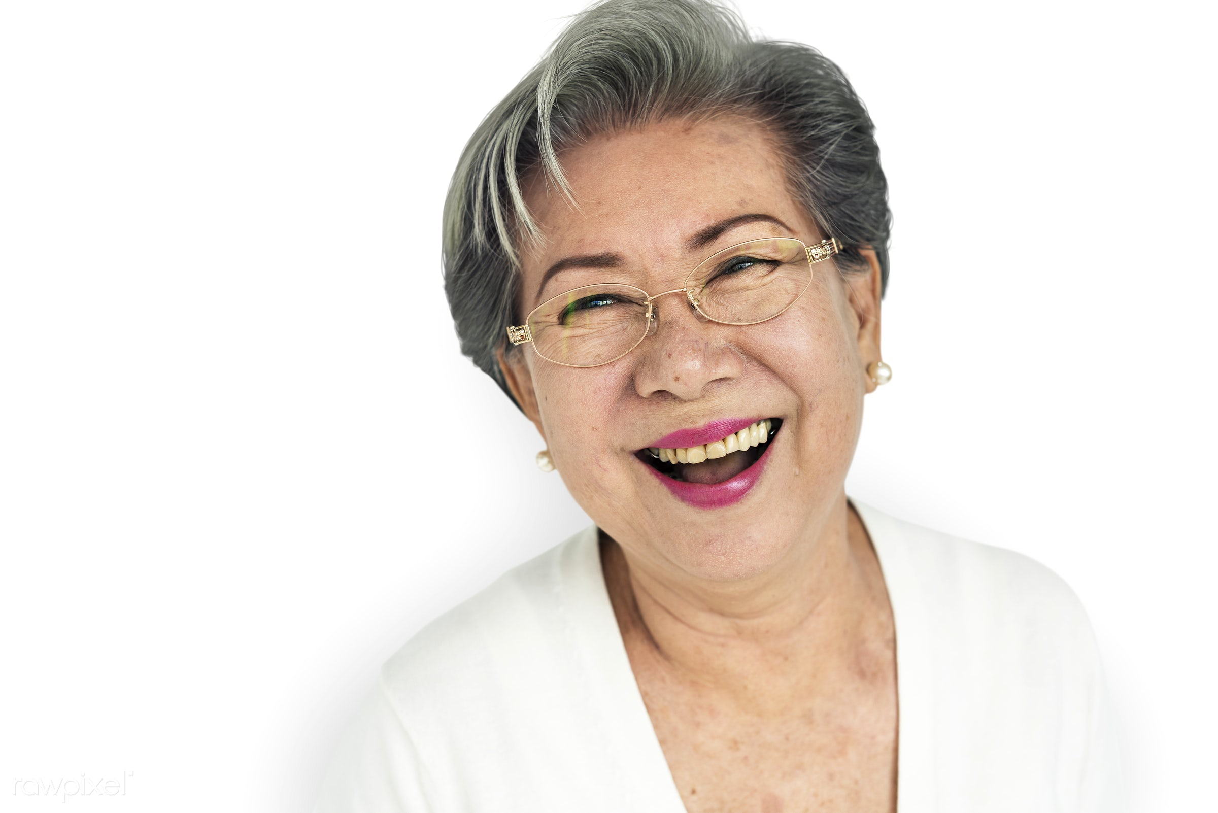 expression, studio, old, person, glasses, isolated on white, people, laughing, woman, happy, casual, cheerful, smiling,...
