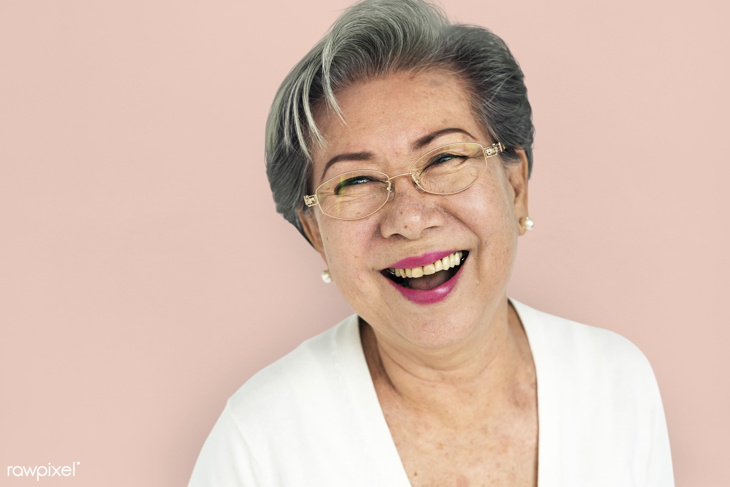 expression, studio, old, person, glasses, people, laughing, woman, happy, casual, cheerful, smiling, isolated, candid,...